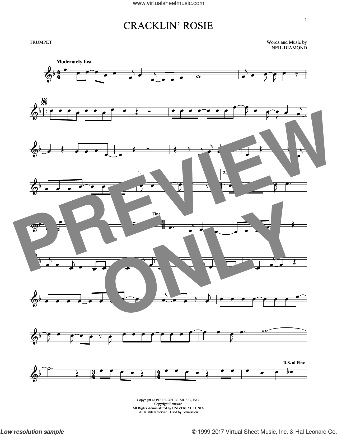 Cracklin' Rosie sheet music for trumpet solo by Neil Diamond, intermediate skill level