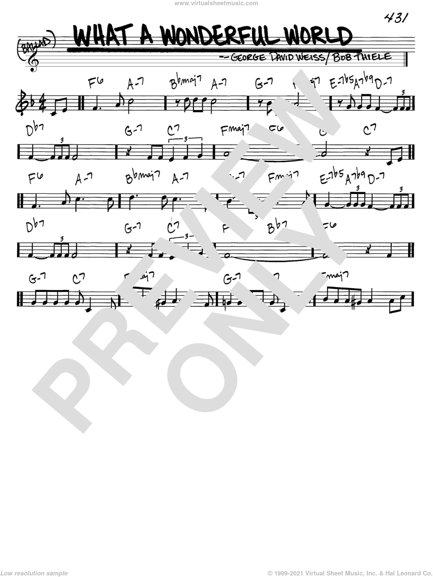 armstrong - what a wonderful world sheet music (real book - melody and  chords) (in c)  virtual sheet music