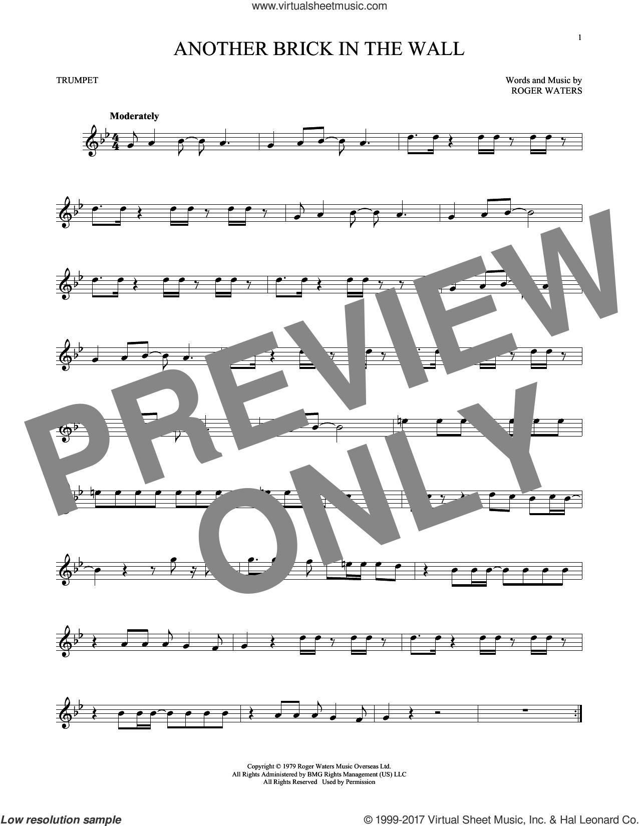 Another Brick In The Wall sheet music for trumpet solo by Pink Floyd and Roger Waters, intermediate skill level