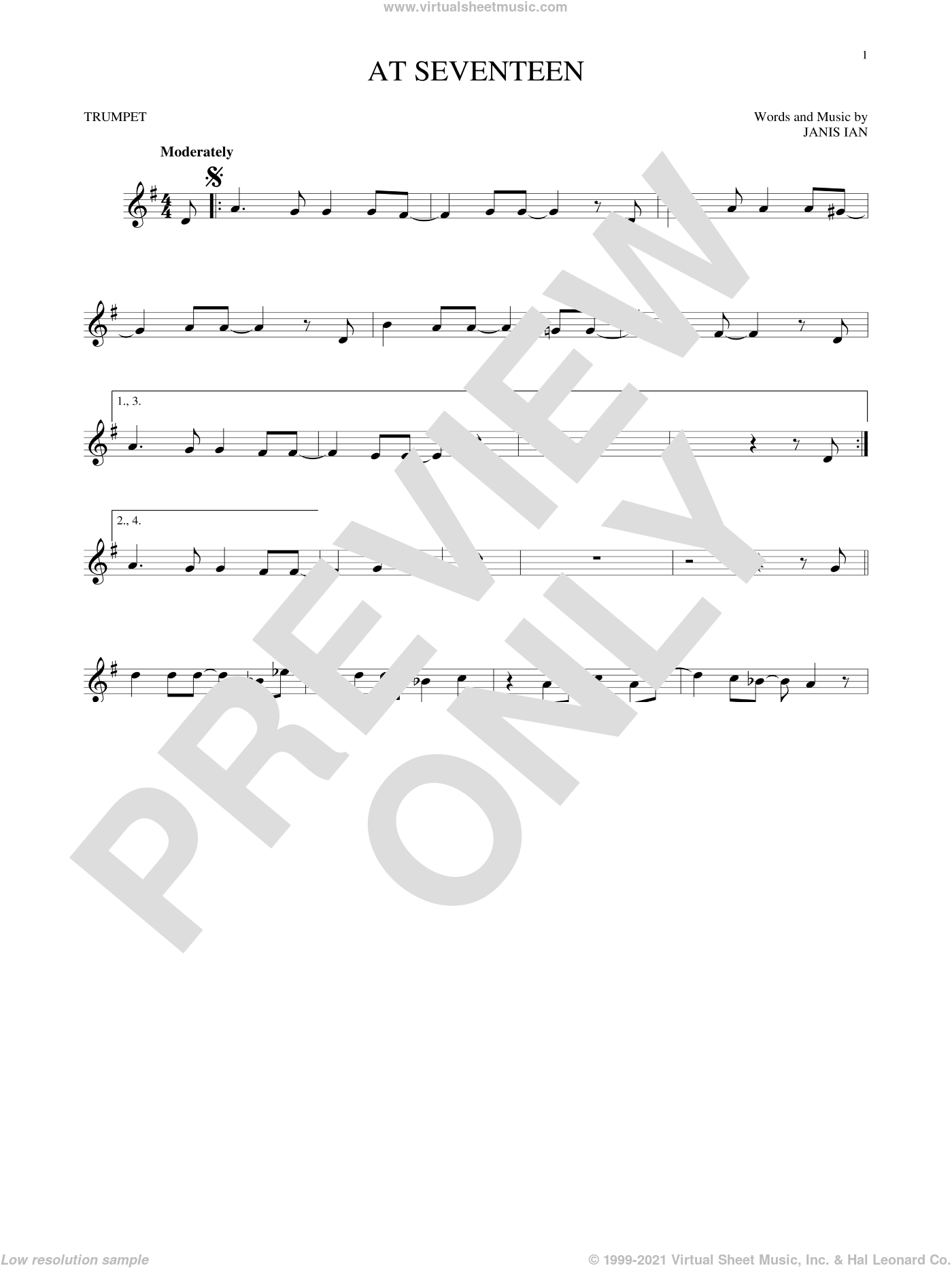 At Seventeen sheet music for trumpet solo by Janis Ian, intermediate trumpet. Score Image Preview.