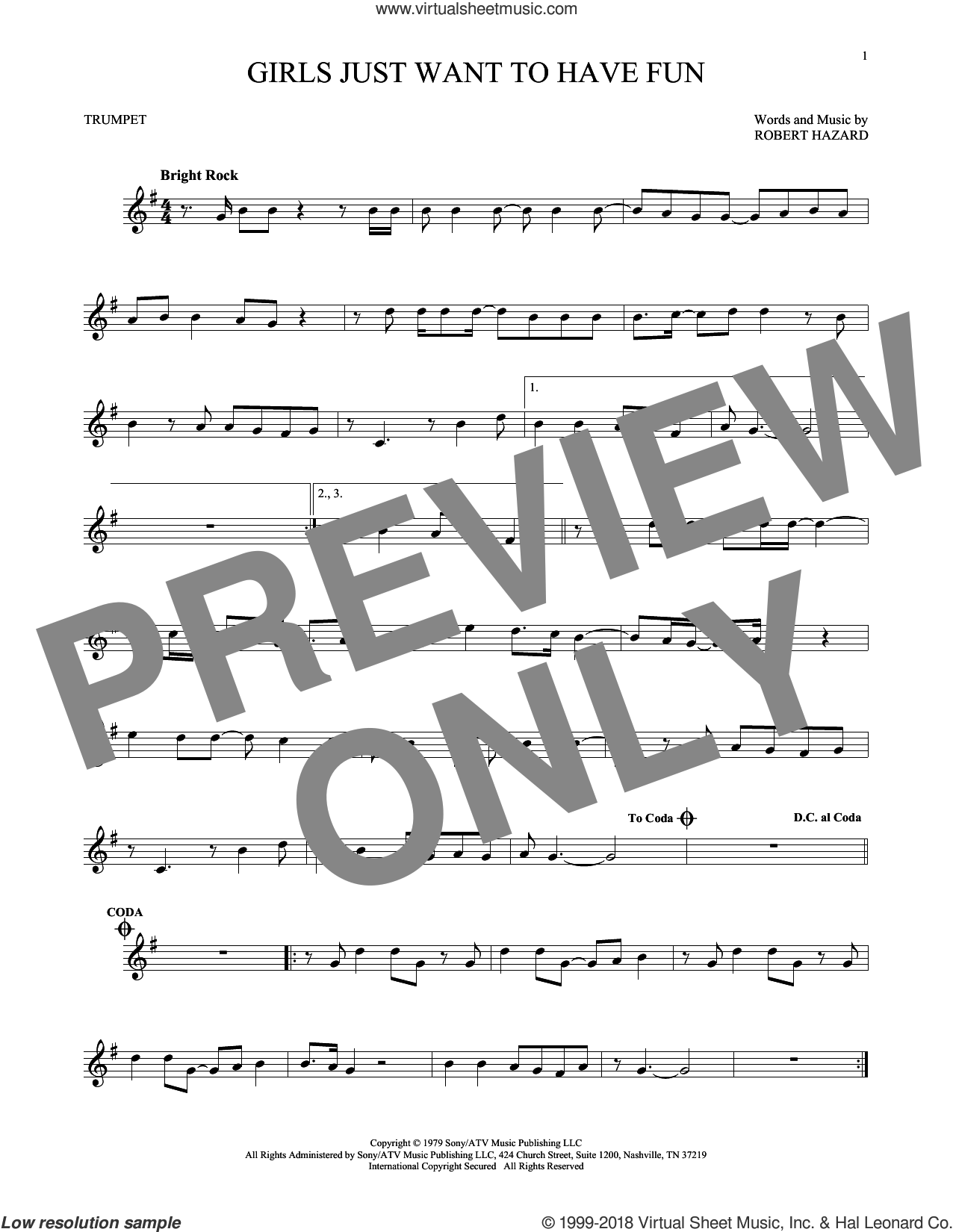 Girls Just Want To Have Fun sheet music for trumpet solo by Cyndi Lauper, intermediate. Score Image Preview.
