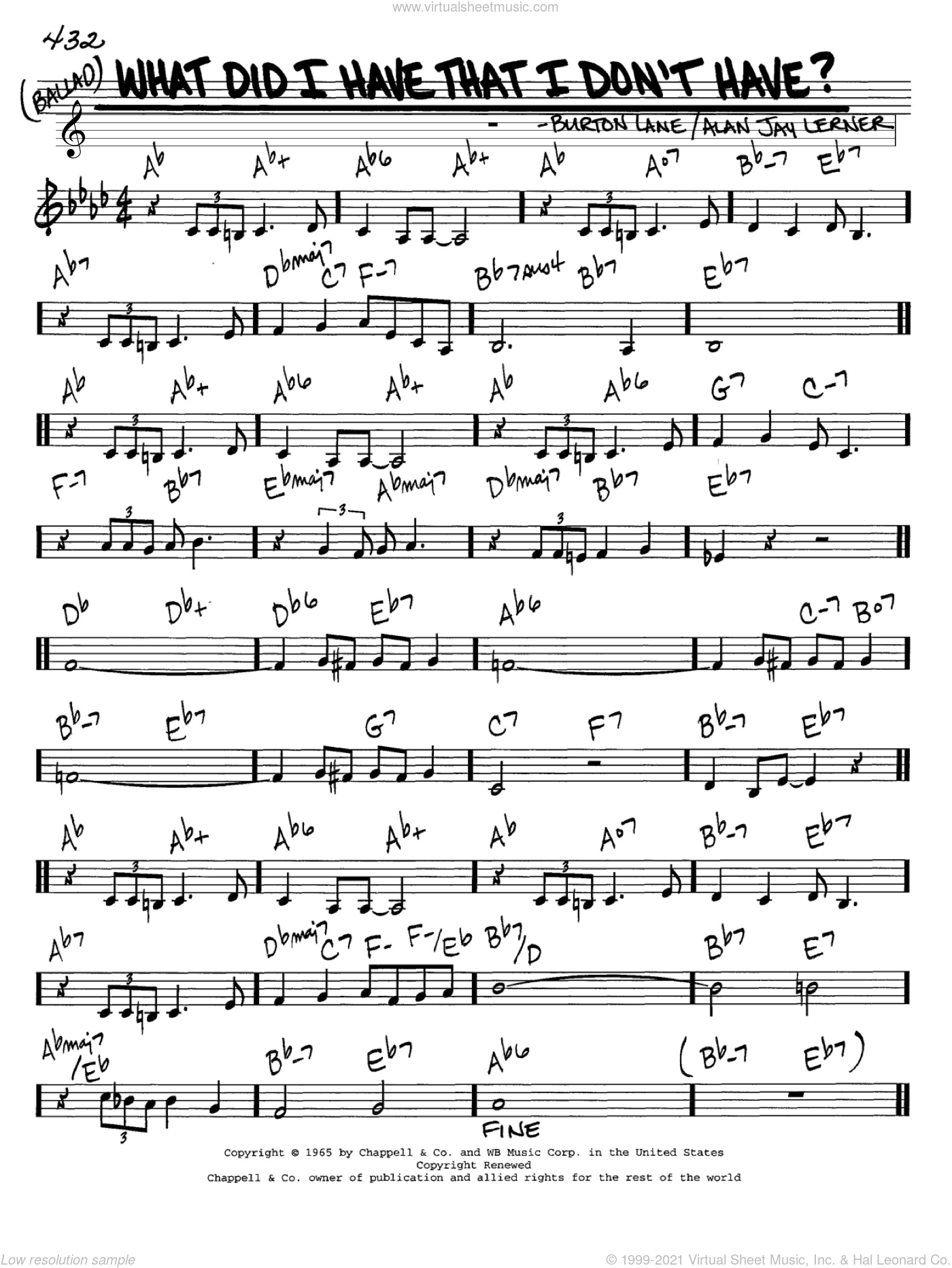 What Did I Have That I Don't Have? sheet music for voice and other instruments (C) by Burton Lane