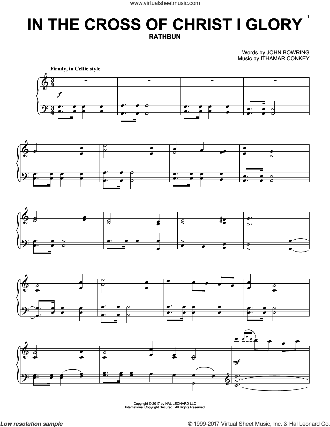 In The Cross Of Christ I Glory sheet music for piano solo by John Bowring, John Leavitt and Ithamar Conkey, intermediate skill level