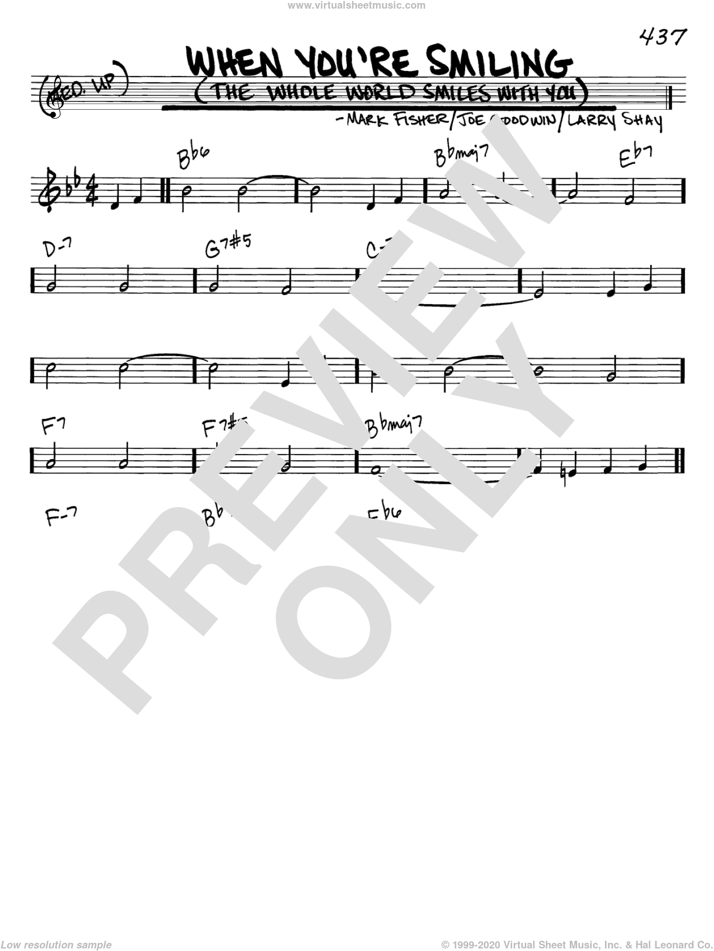 When You're Smiling (The Whole World Smiles With You) sheet music for voice and other instruments (in C) by Louis Armstrong, Joe Goodwin, Larry Shay and Mark Fisher, intermediate skill level