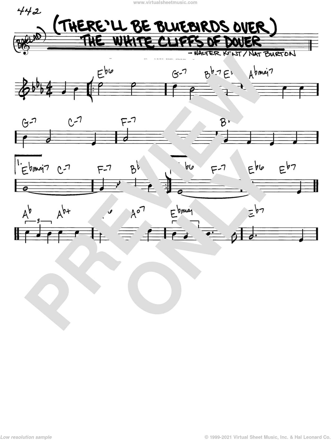 (There'll Be Bluebirds Over) The White Cliffs Of Dover sheet music for voice and other instruments (in C) by Nat Burton, Vera Lynn and Walter Kent, intermediate skill level