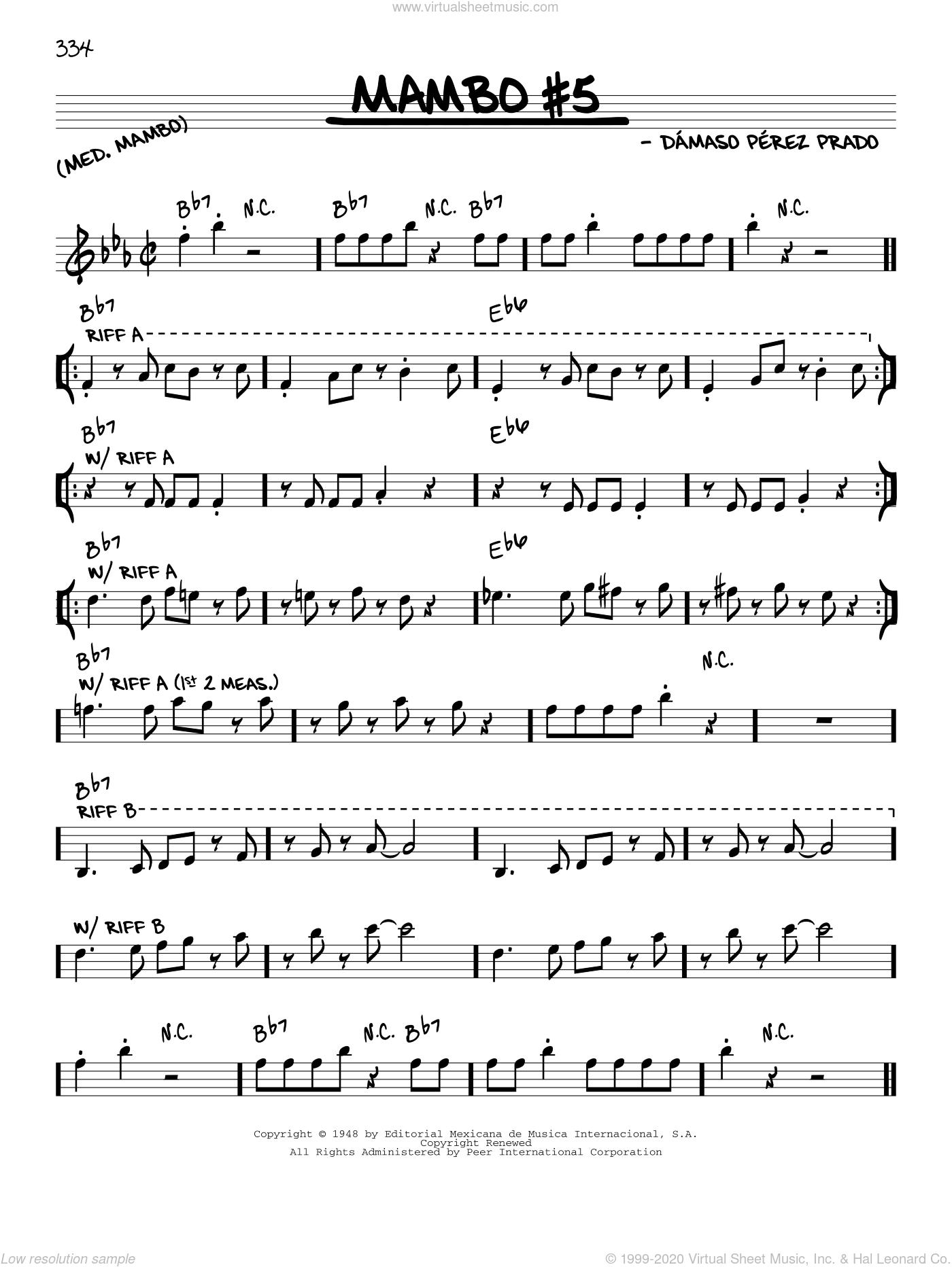 Mambo #5 sheet music for voice and other instruments (in C) by Perez Prado and Damaso Perez Prado, intermediate skill level