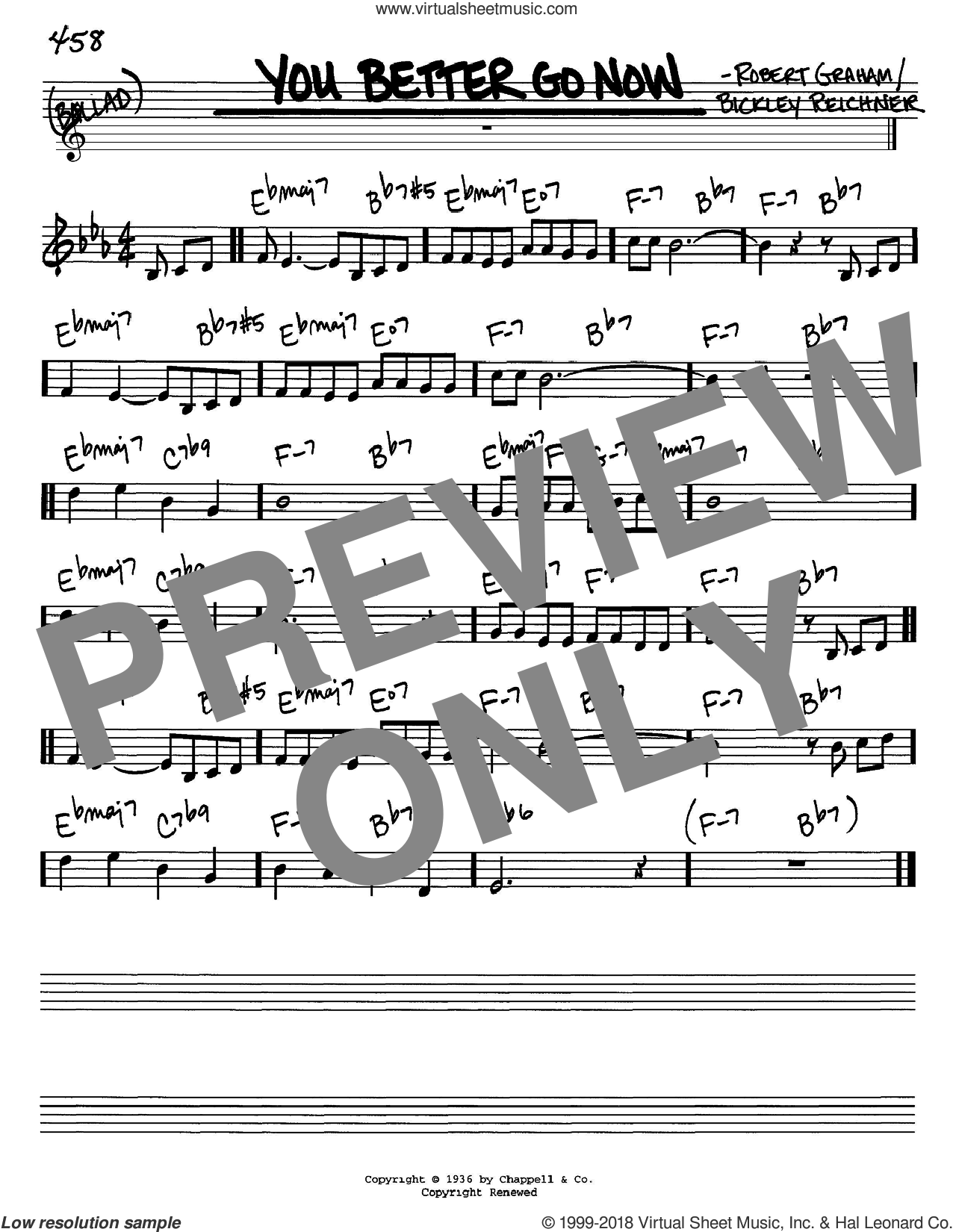 You Better Go Now sheet music for voice and other instruments (in C) by Bickley Reichner and Robert Graham, intermediate skill level