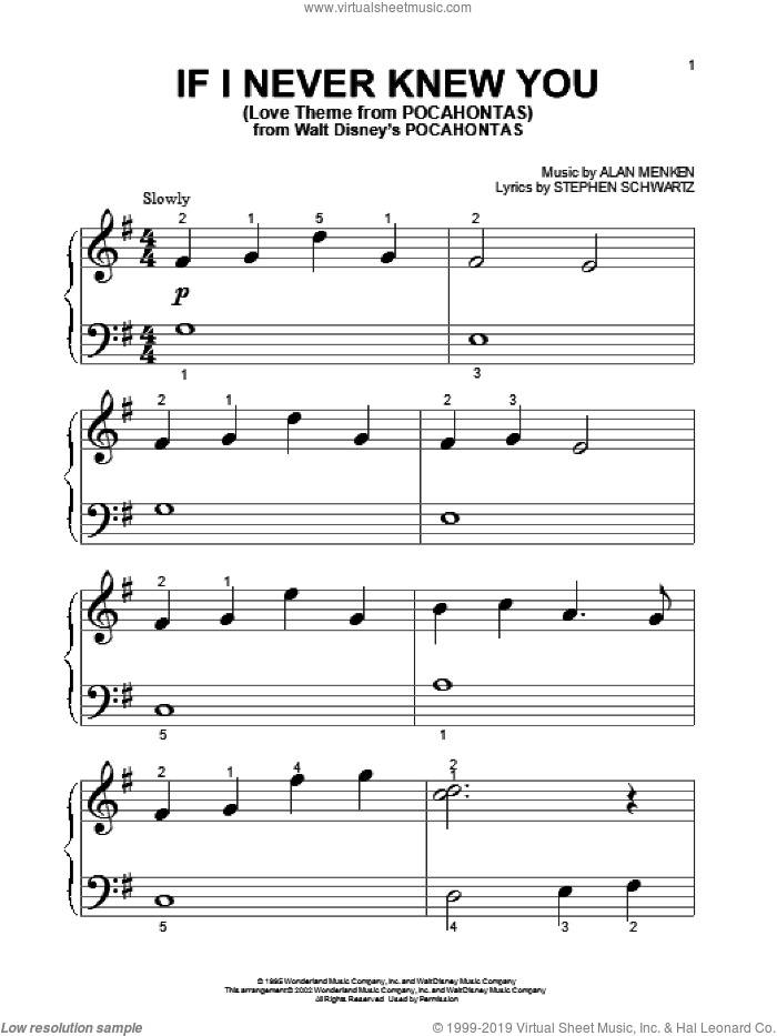 If I Never Knew You (Love Theme from POCAHONTAS) sheet music for piano solo (big note book) by Stephen Schwartz, Jon Secada, Shanice and Alan Menken. Score Image Preview.