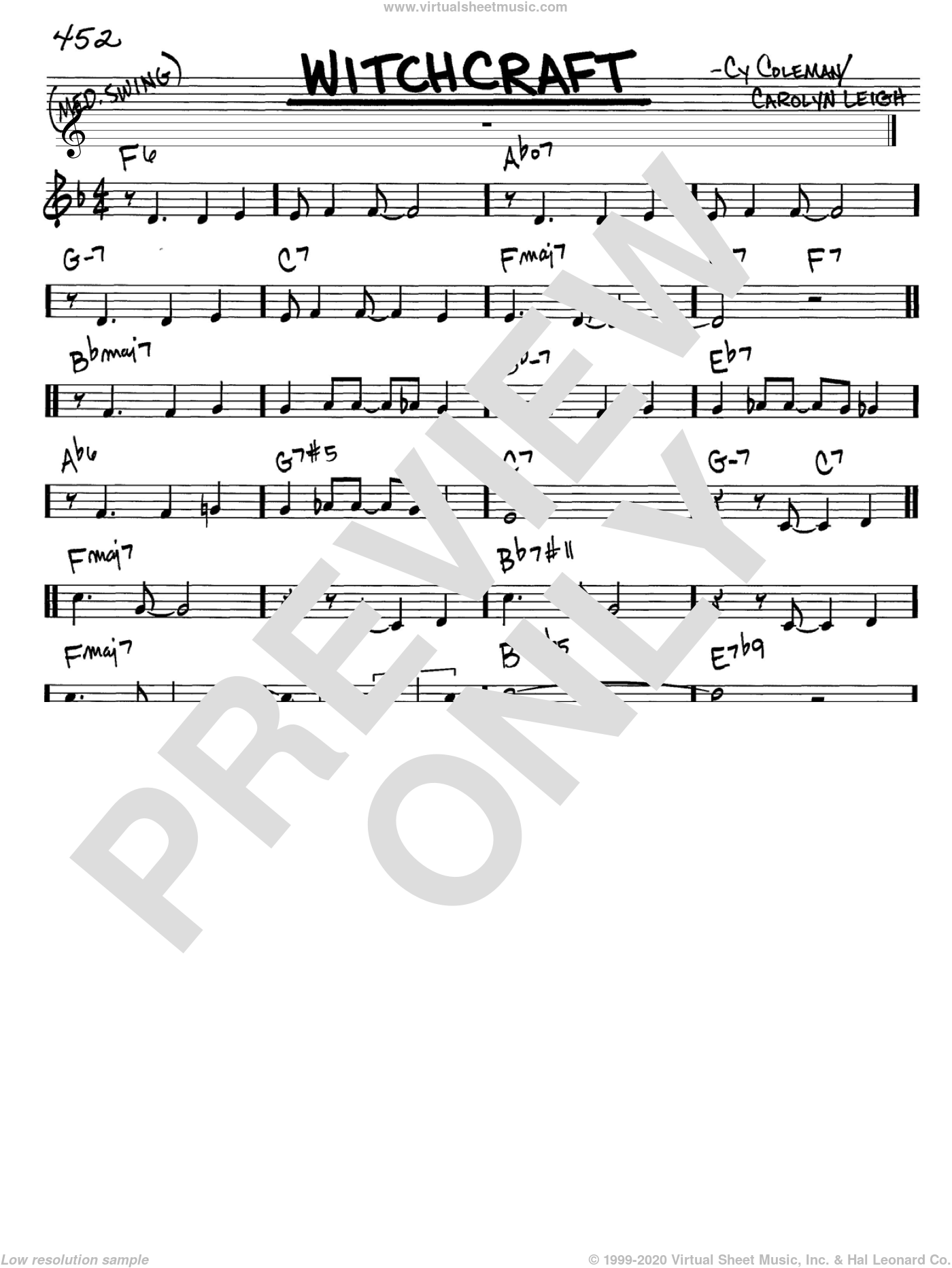 Witchcraft sheet music for voice and other instruments (C) by Cy Coleman, Frank Sinatra and Carolyn Leigh. Score Image Preview.
