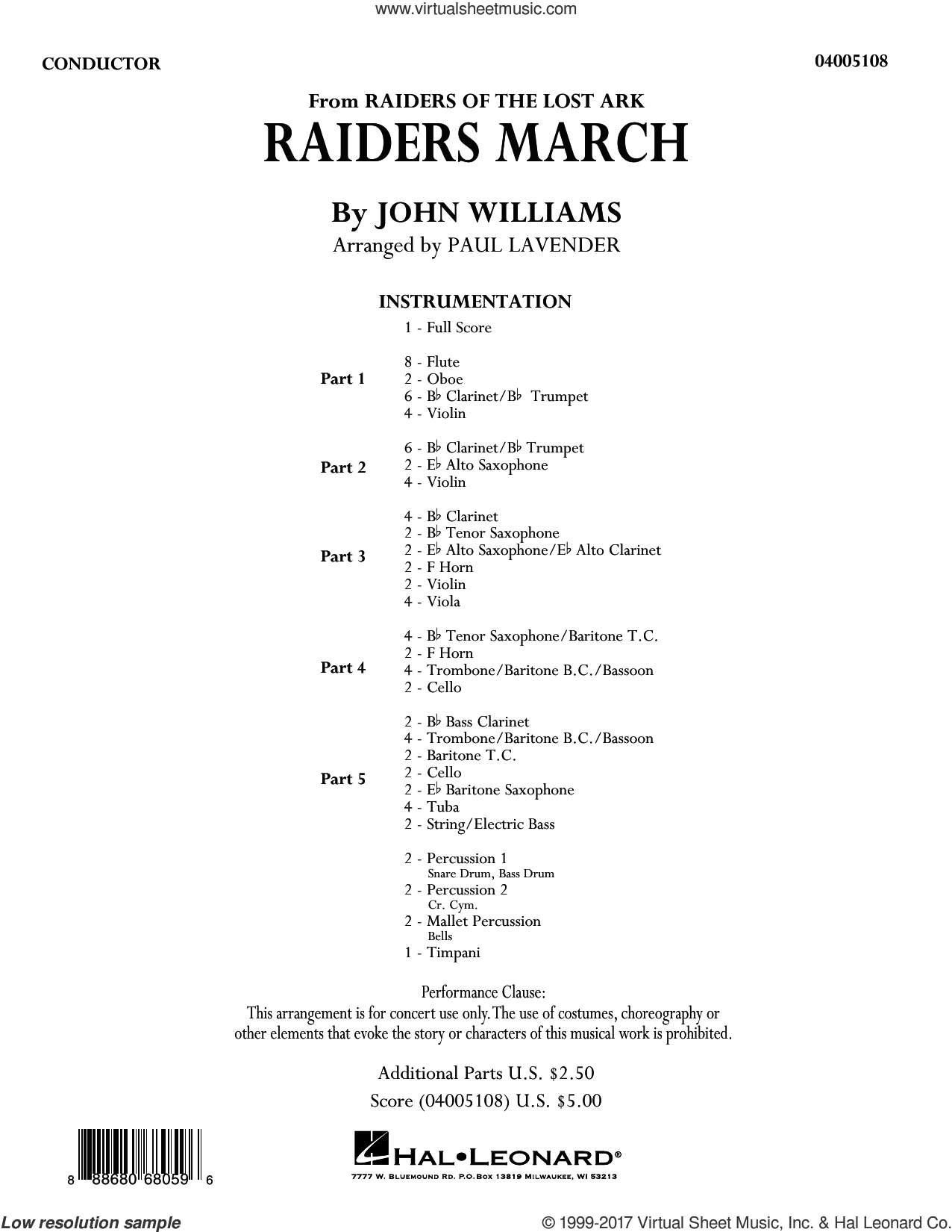 Raiders March (COMPLETE) sheet music for concert band by John Williams and Paul Lavender, classical score, intermediate concert band. Score Image Preview.