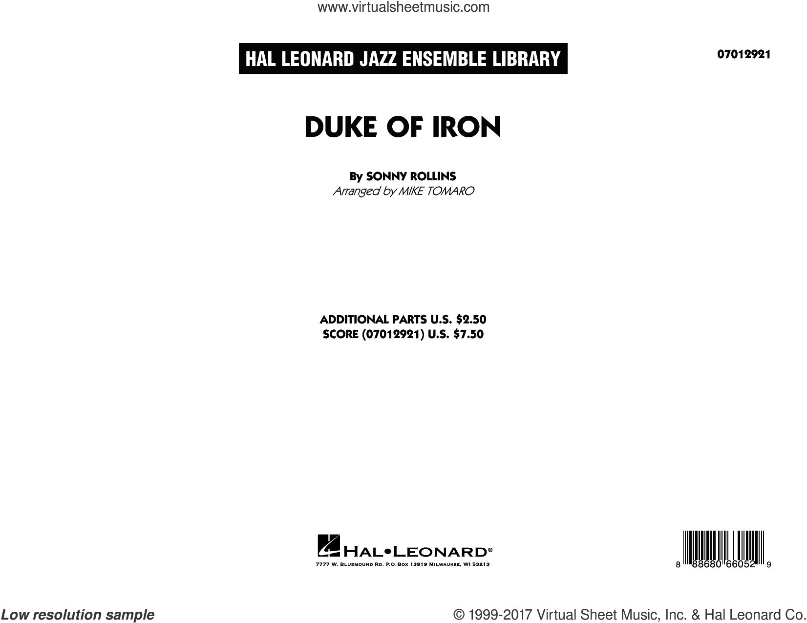 Duke Of Iron (COMPLETE) sheet music for jazz band by Sonny Rollins and Mike Tomaro, intermediate jazz band. Score Image Preview.
