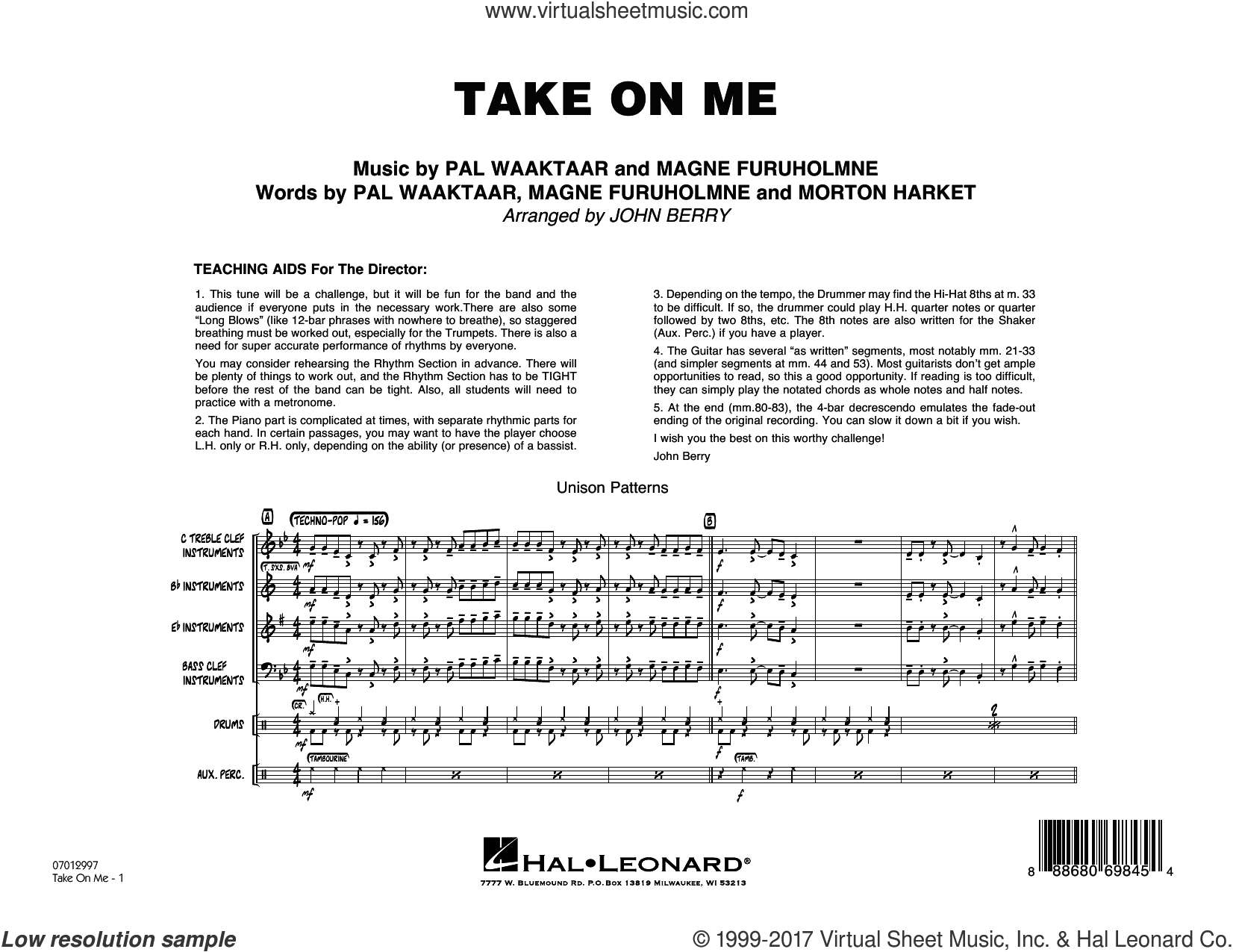 Take on Me (COMPLETE) sheet music for jazz band by John Berry, a-ha, Magne Furuholmne, Morton Harket and Pal Waaktaar, intermediate skill level