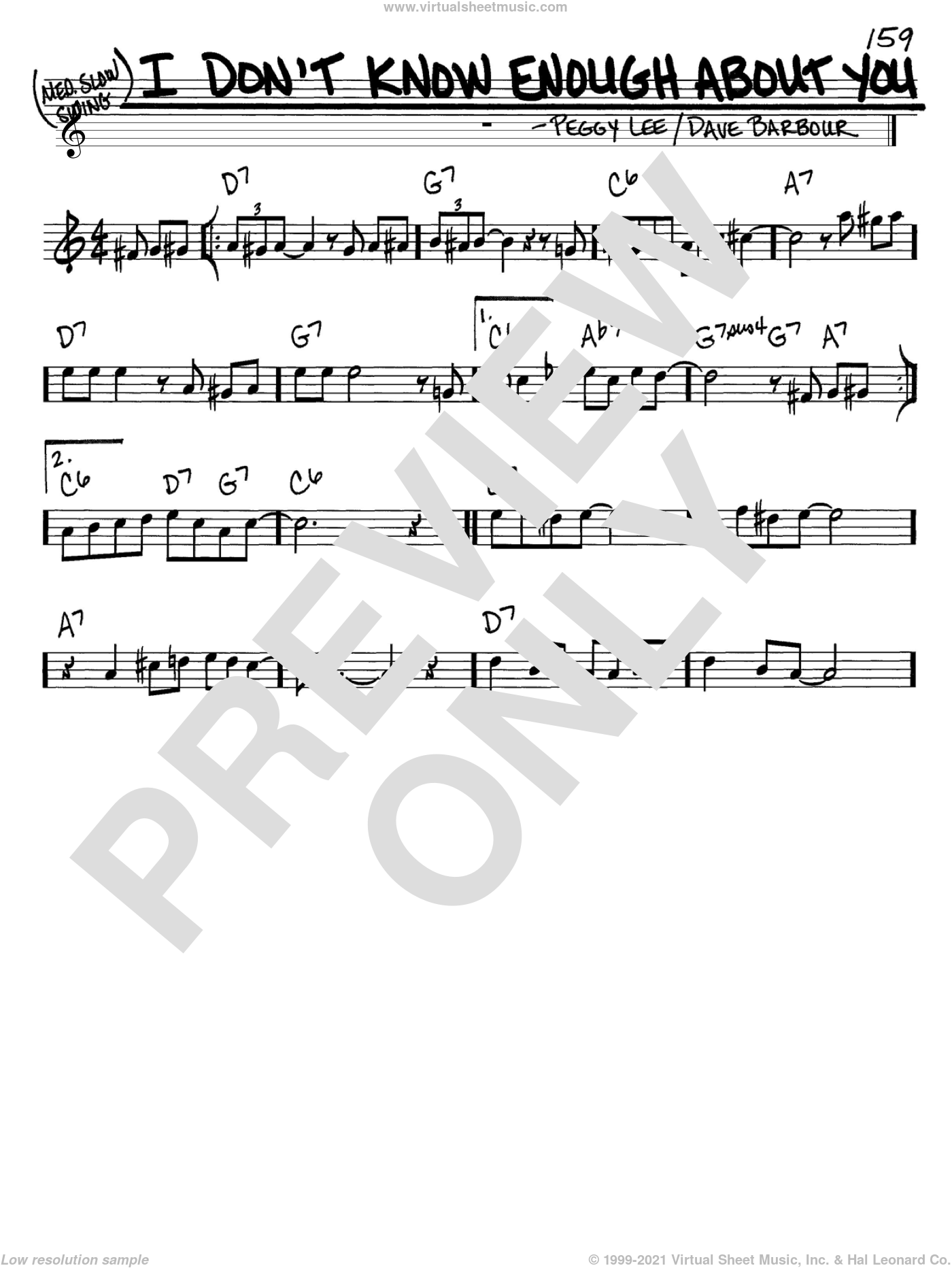 I Don't Know Enough About You sheet music for voice and other instruments (C) by Dave Barbour and Peggy Lee. Score Image Preview.