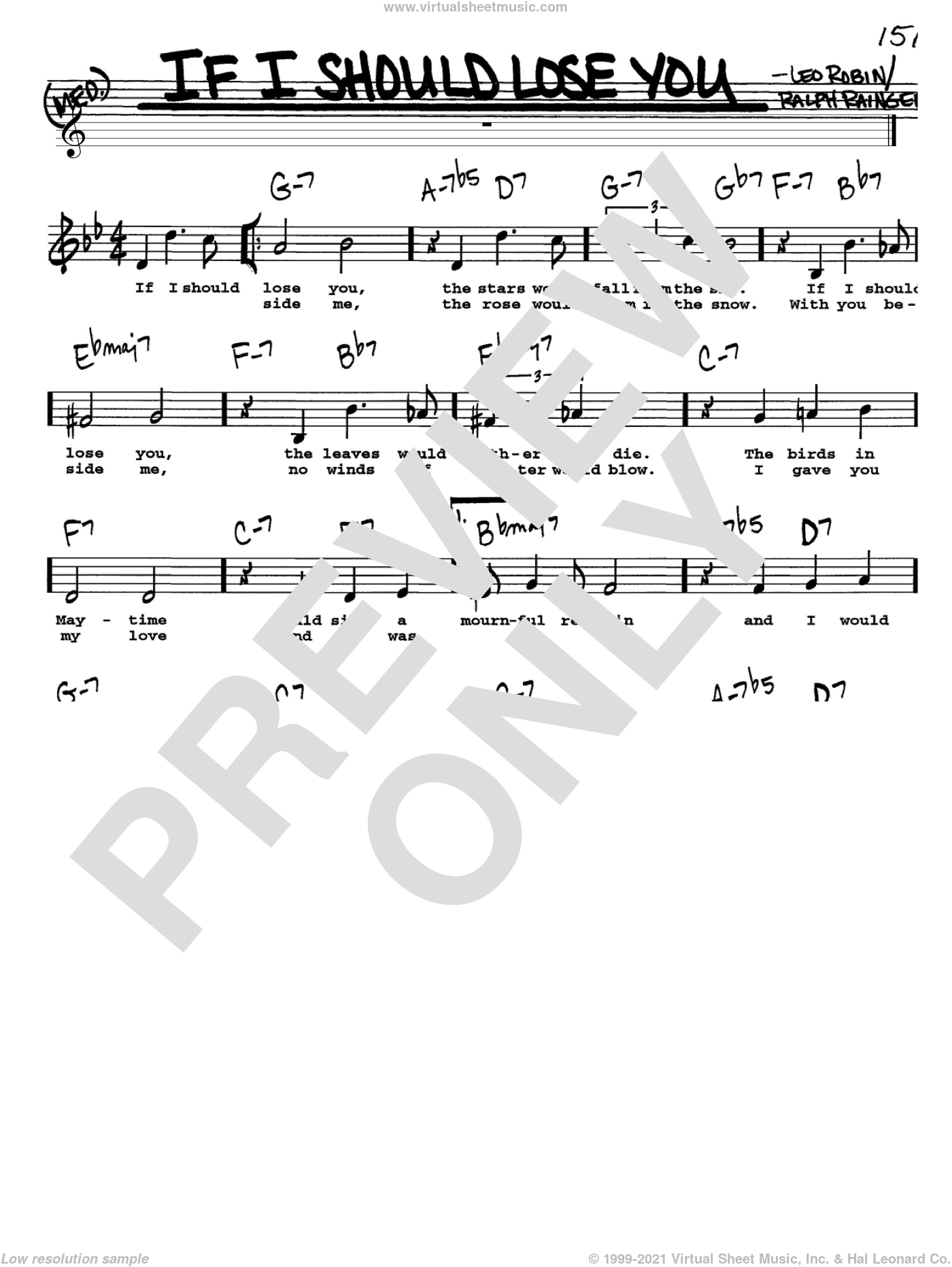 If I Should Lose You sheet music for voice and other instruments (Vocal Volume 1) by Ralph Rainger and Leo Robin, intermediate voice. Score Image Preview.