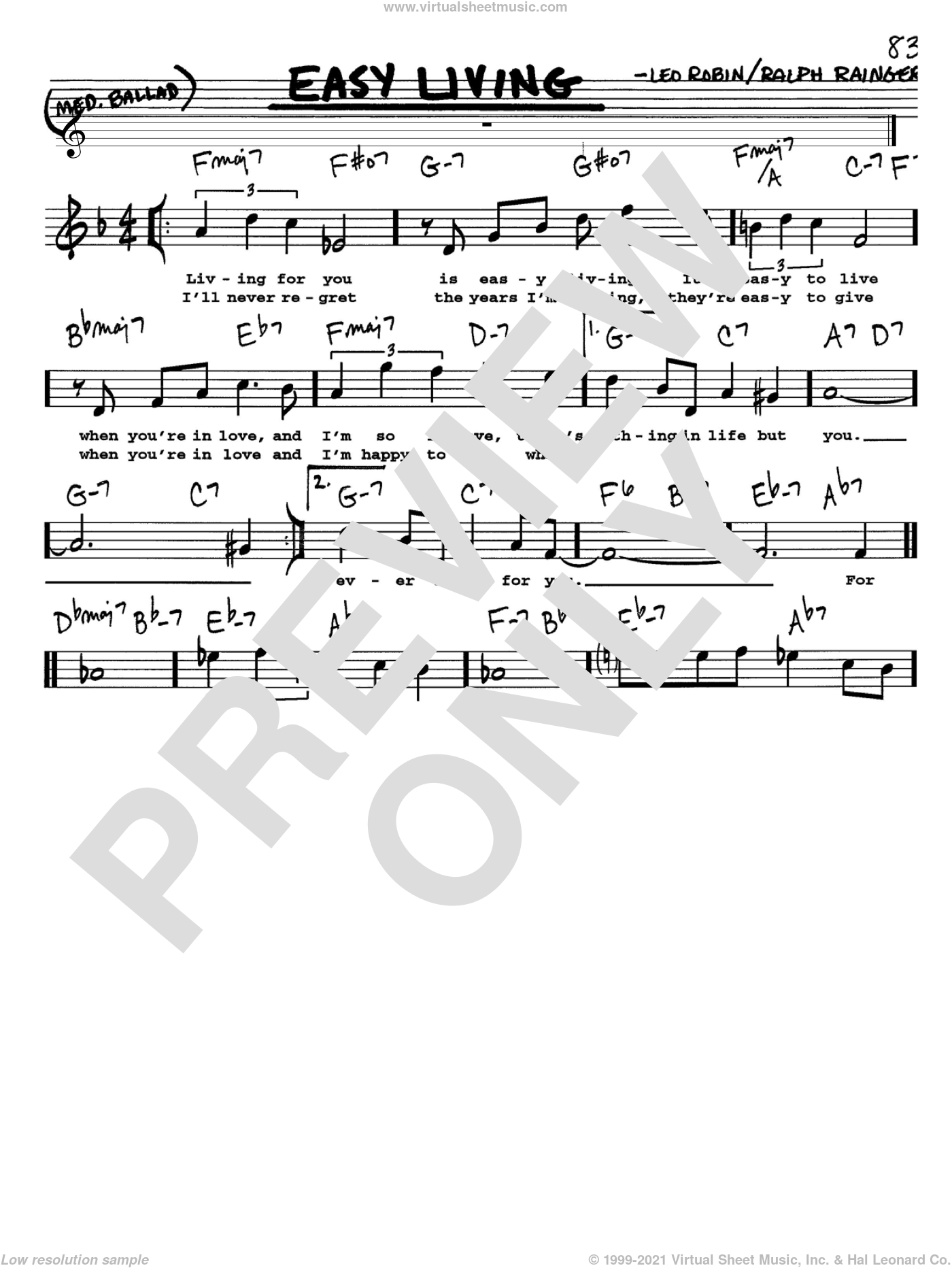 Easy Living sheet music for voice and other instruments  by Billie Holiday, Leo Robin and Ralph Rainger, intermediate. Score Image Preview.