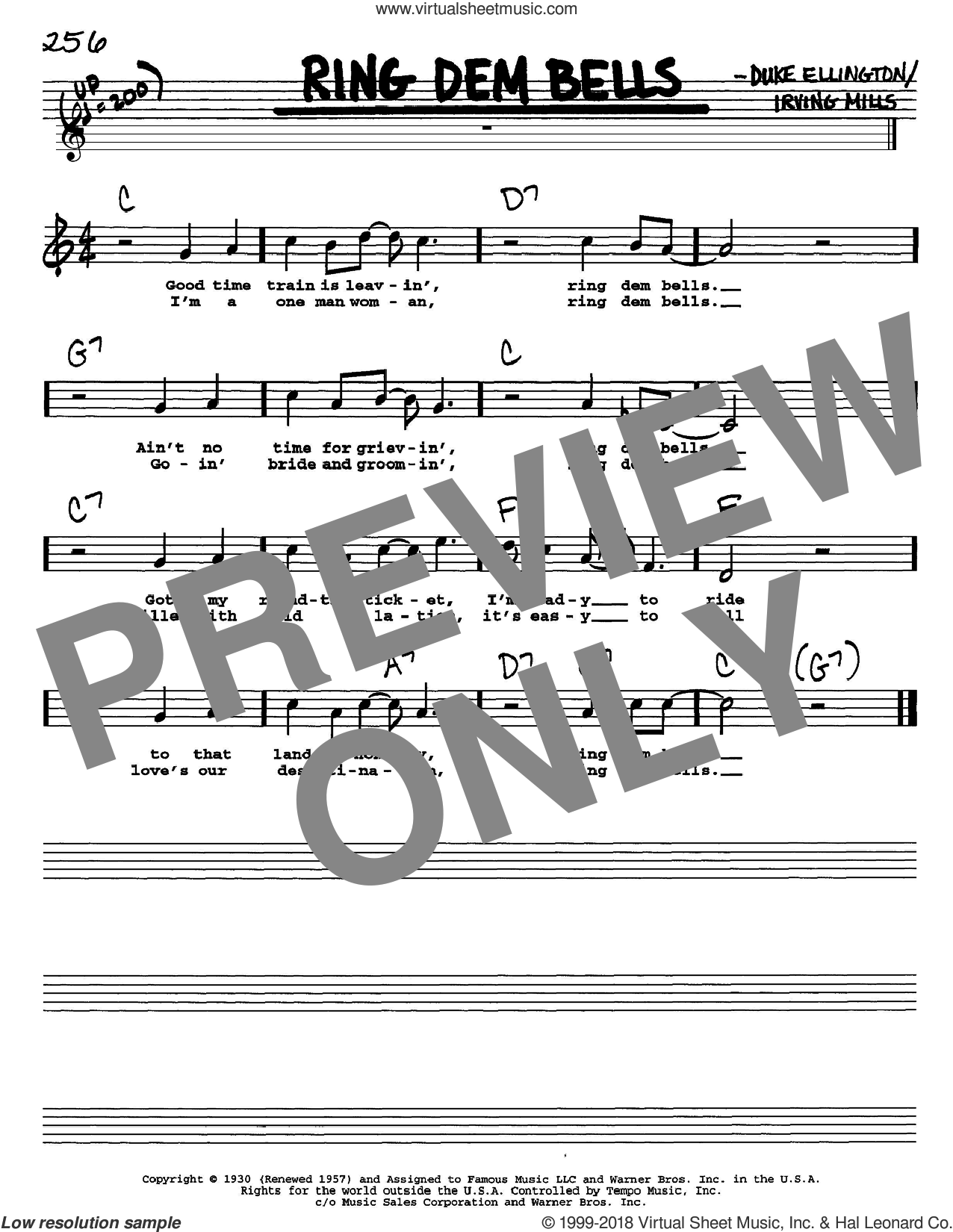 Ring Dem Bells sheet music for voice and other instruments  by Duke Ellington and Irving Mills, intermediate. Score Image Preview.