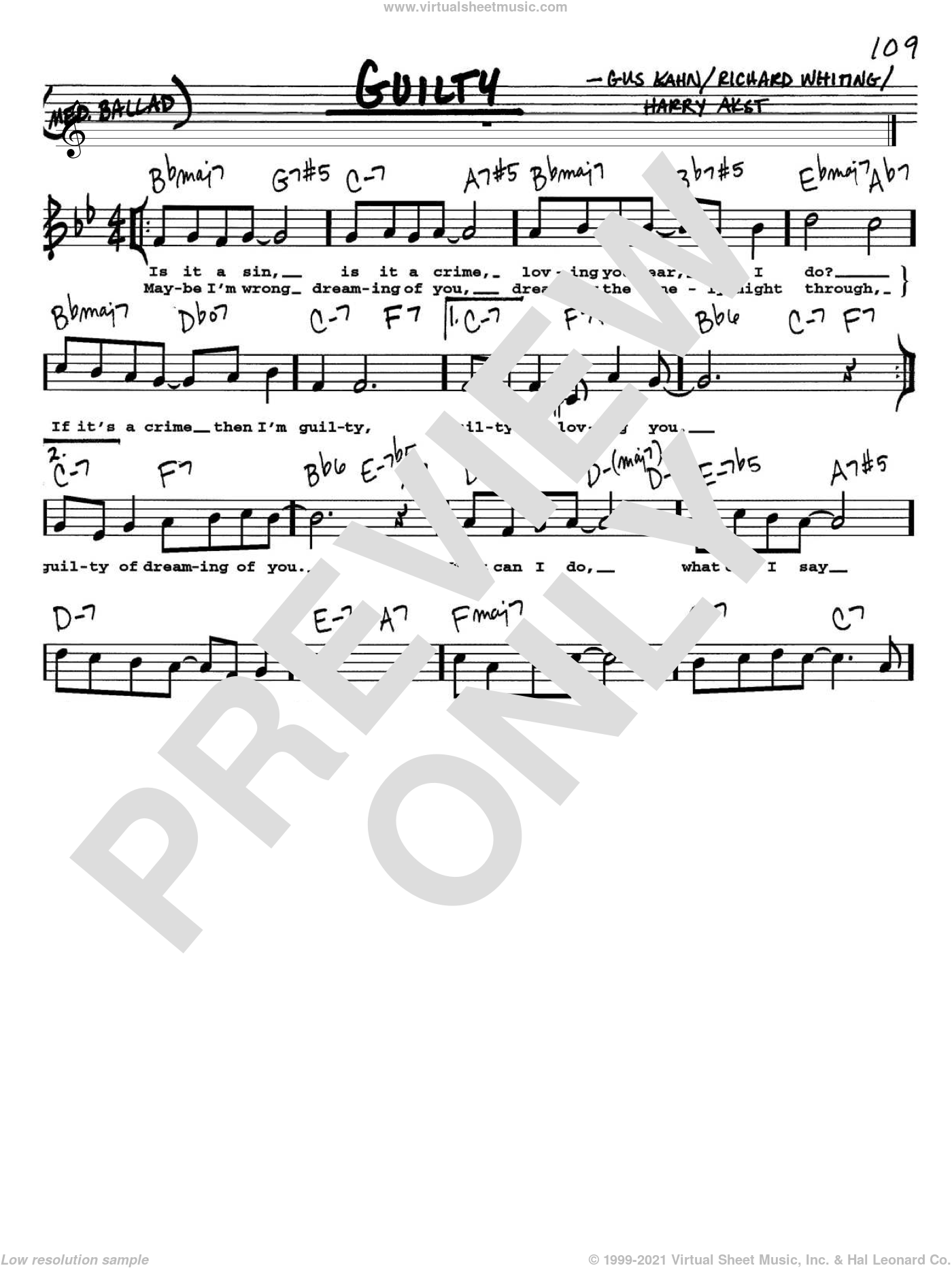 Guilty sheet music for voice and other instruments (Vocal Volume 1) by Richard A. Whiting, Gus Kahn and Harry Akst. Score Image Preview.