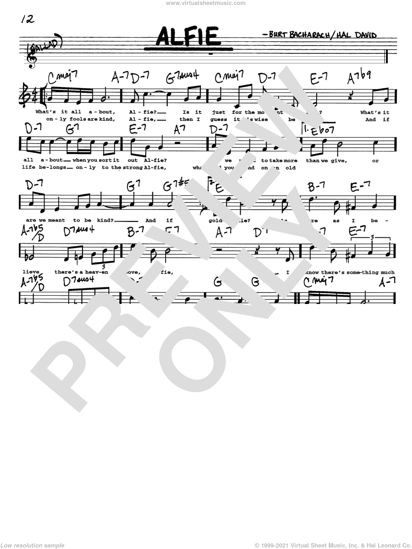 Alfie sheet music for voice and other instruments (Vocal Volume 1) by Bacharach & David, Dionne Warwick, Sonny Rollins, Burt Bacharach and Hal David. Score Image Preview.