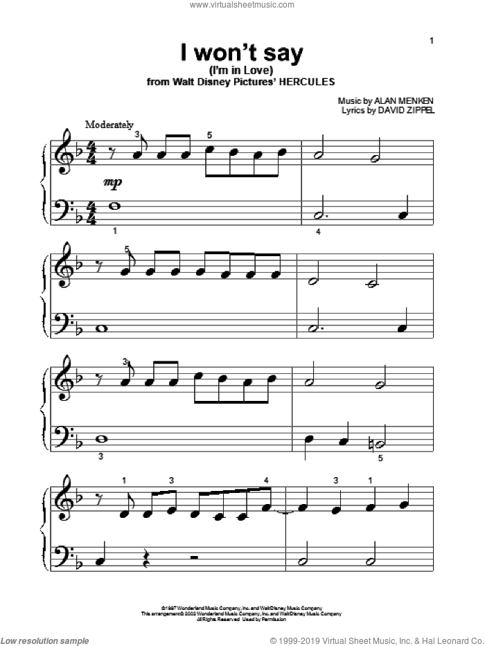 I Won't Say (I'm In Love) sheet music for piano solo (big note book) by David Zippel and Alan Menken. Score Image Preview.