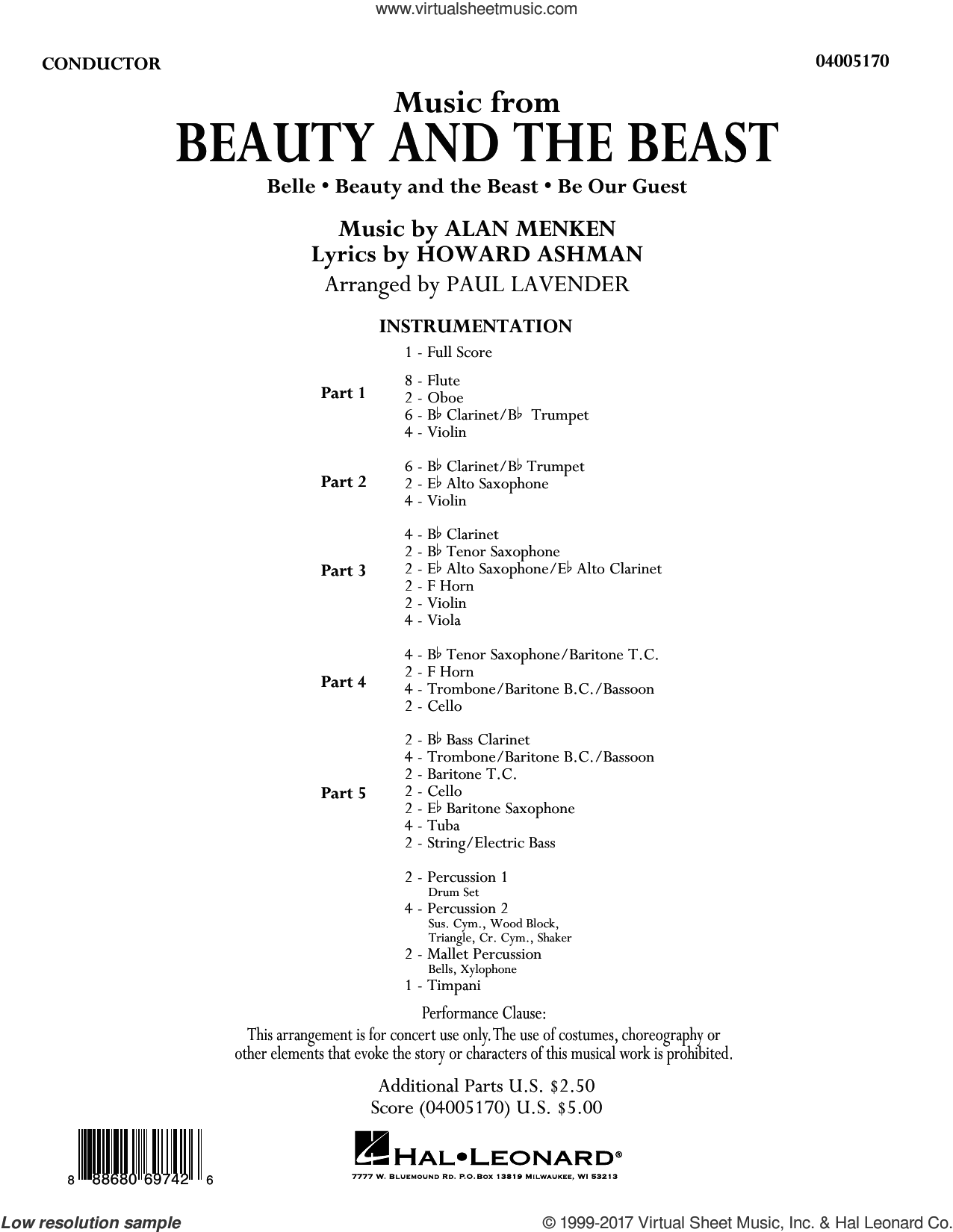 Music from Beauty and the Beast (COMPLETE) sheet music for concert band by Paul Lavender, intermediate. Score Image Preview.