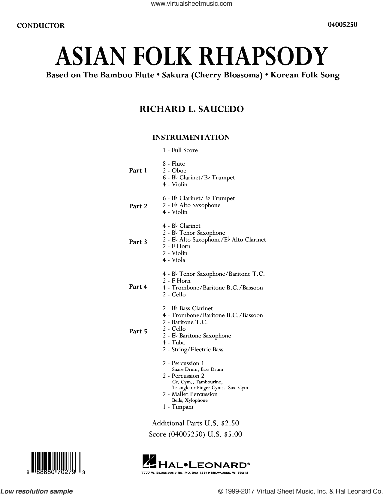 Asian Folk Rhapsody (COMPLETE) sheet music for concert band by Richard L. Saucedo and Traditional Folksongs, intermediate skill level