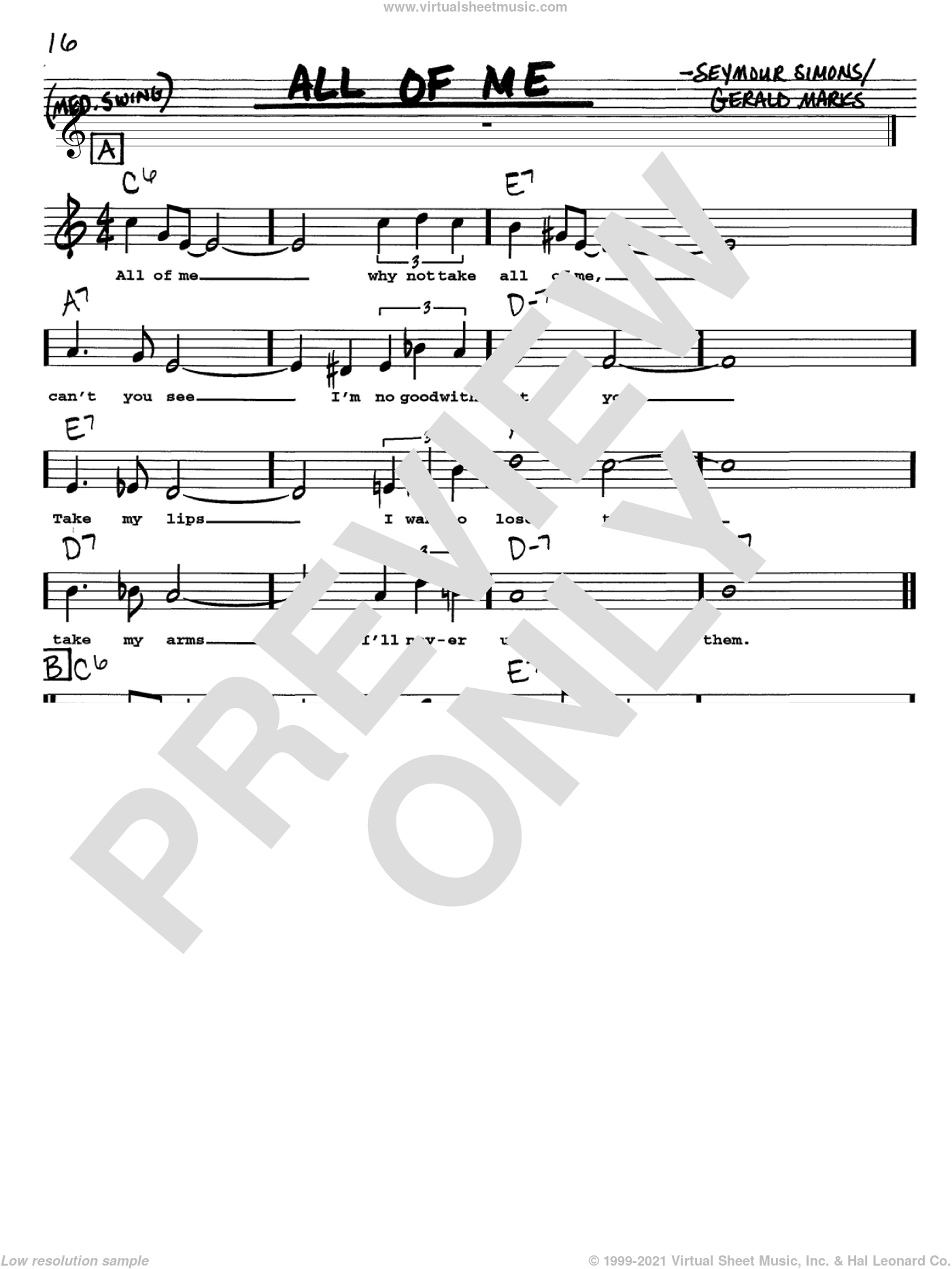 All Of Me sheet music for voice and other instruments  by Louis Armstrong, Frank Sinatra, Willie Nelson, Gerald Marks and Seymour Simons, intermediate skill level