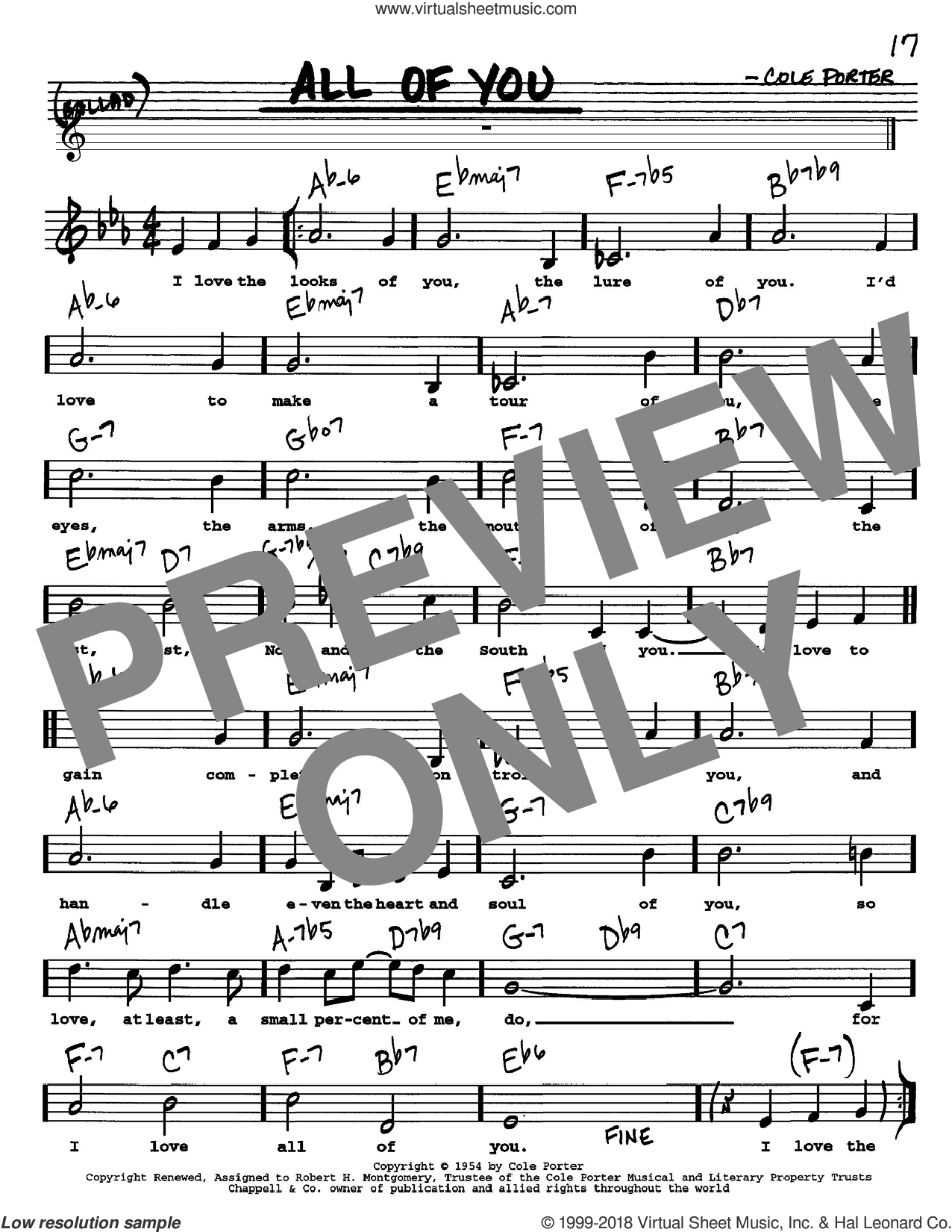 All Of You sheet music for voice and other instruments (Vocal Volume 1) by Cole Porter. Score Image Preview.