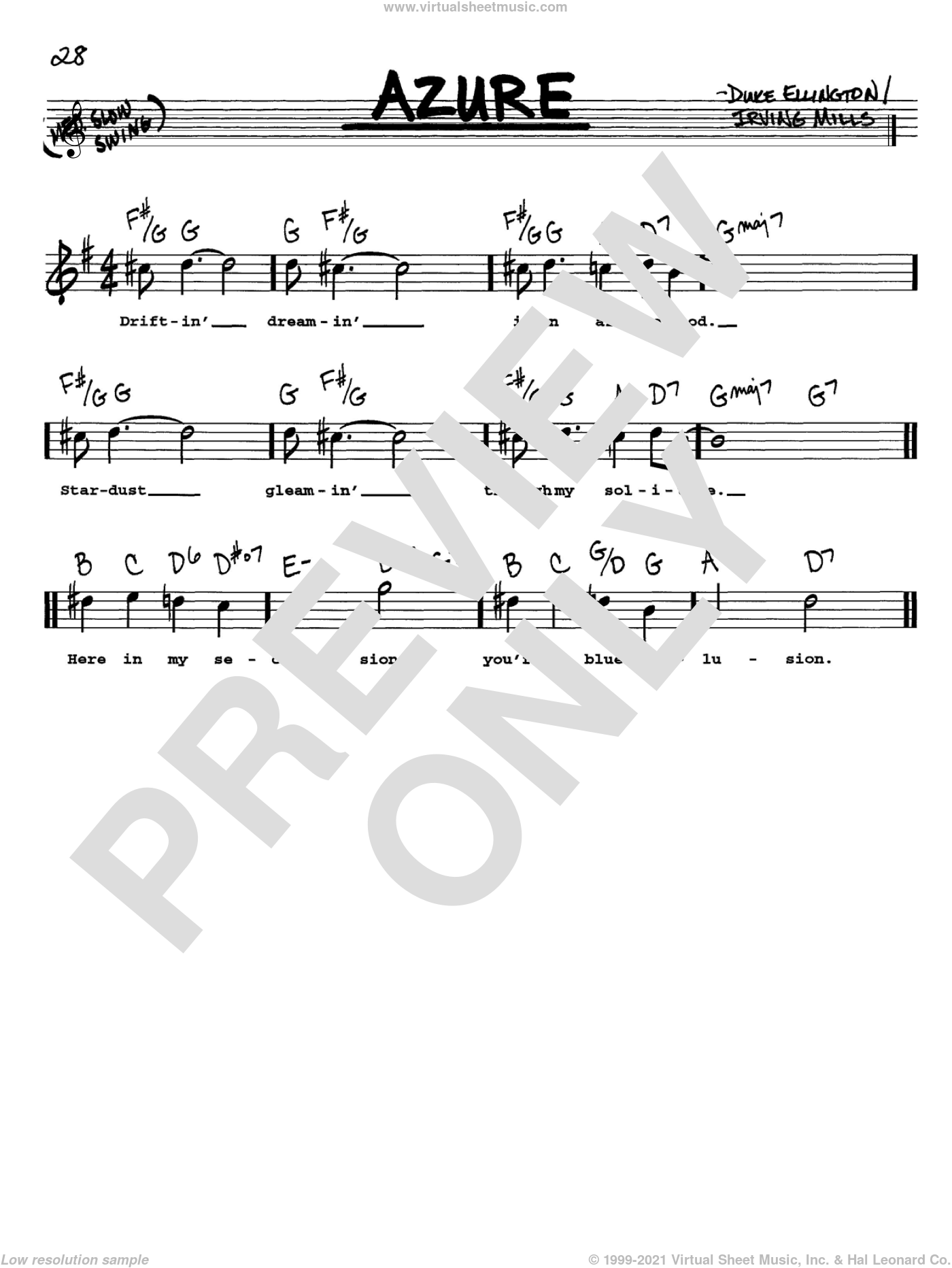 Azure sheet music for voice and other instruments (Vocal Volume 1) by Irving Mills and Duke Ellington. Score Image Preview.