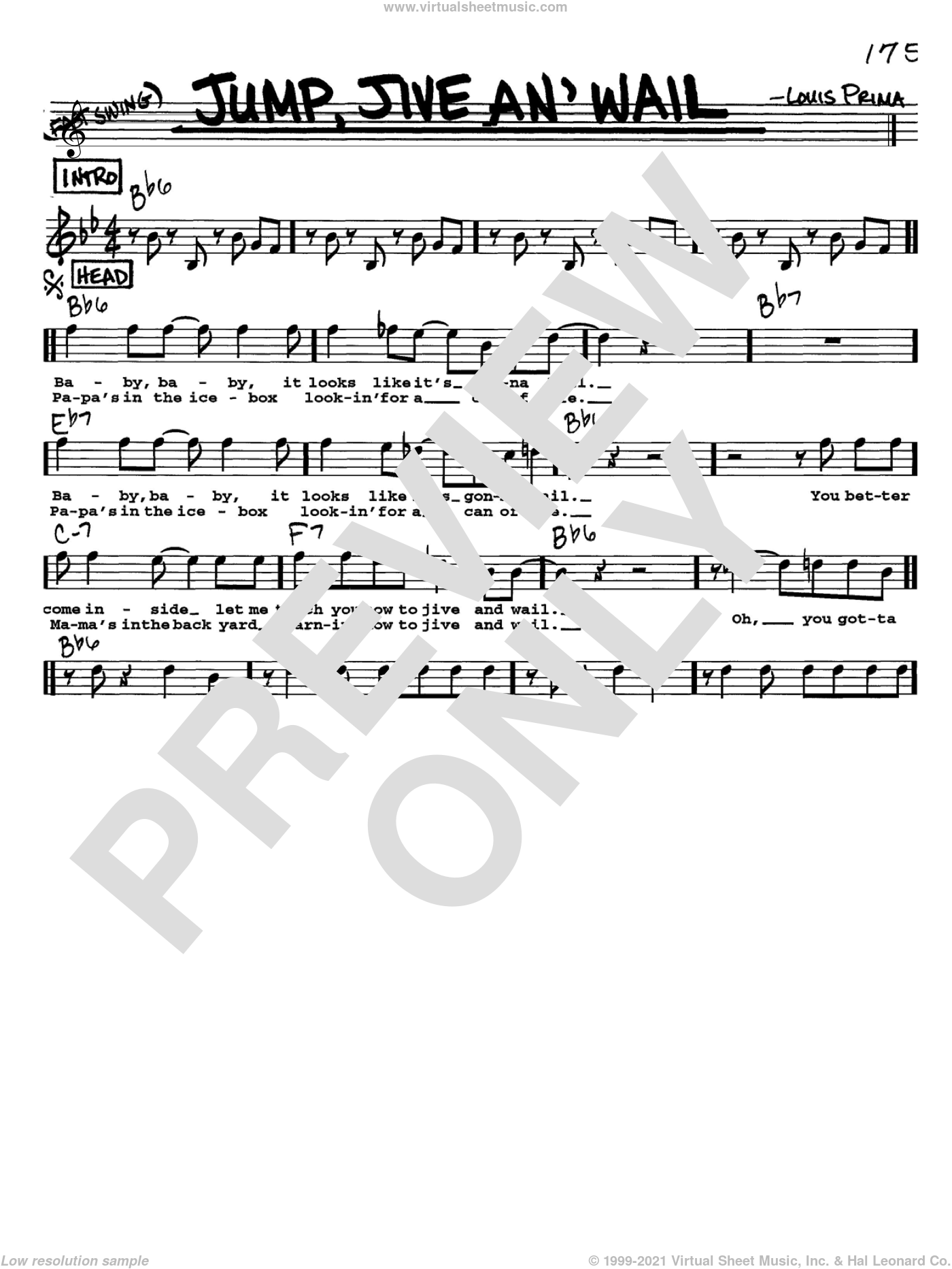 Jump, Jive An' Wail sheet music for voice and other instruments (Vocal Volume 1) by Louis Prima, intermediate voice. Score Image Preview.