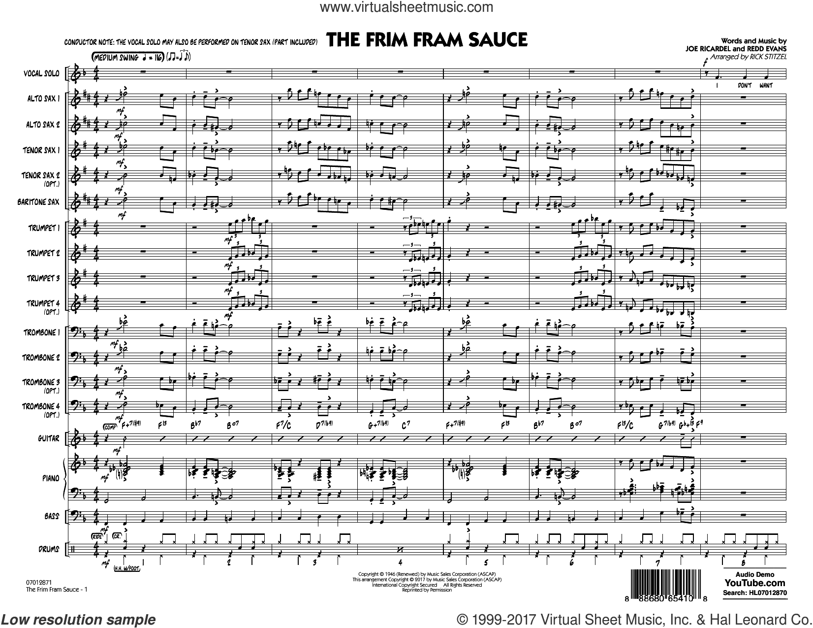 The Frim Fram Sauce (Key: F) (COMPLETE) sheet music for jazz band by Rick Stitzel, Joe Ricardel and Redd Evans, intermediate