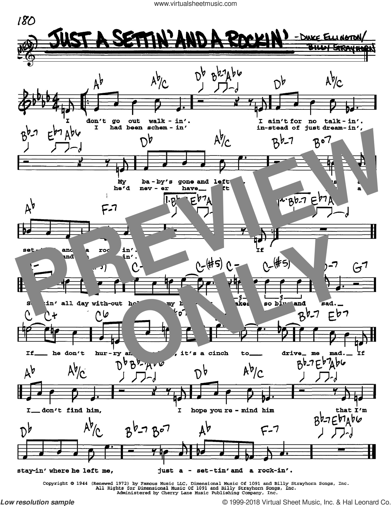 Just A Settin' And A Rockin' sheet music for voice and other instruments (Vocal Volume 1) by Lee Gaines, Billy Strayhorn and Duke Ellington. Score Image Preview.