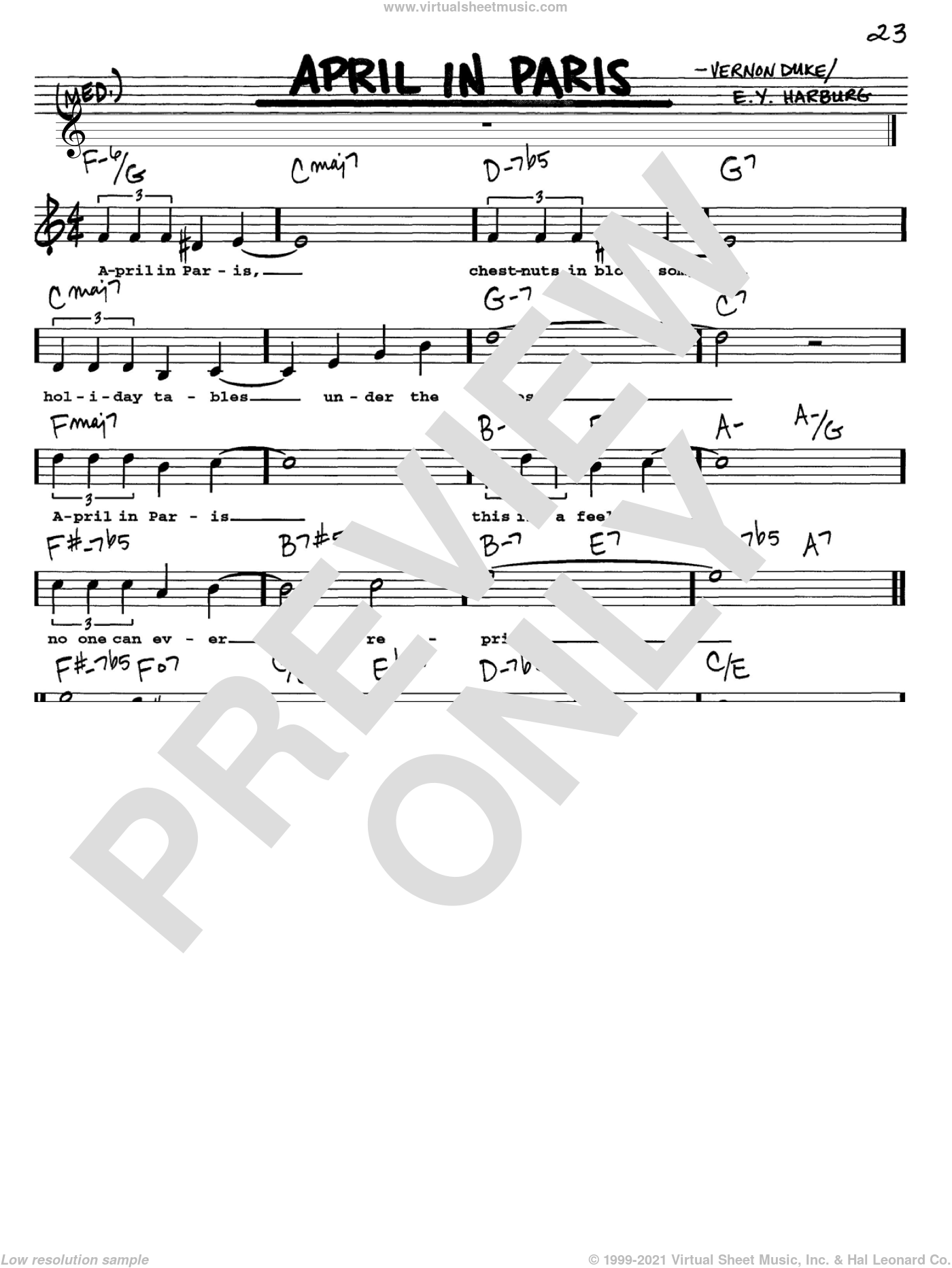 April In Paris sheet music for voice and other instruments (Vocal Volume 1) by E.Y. Harburg, Count Basie and Vernon Duke, intermediate. Score Image Preview.