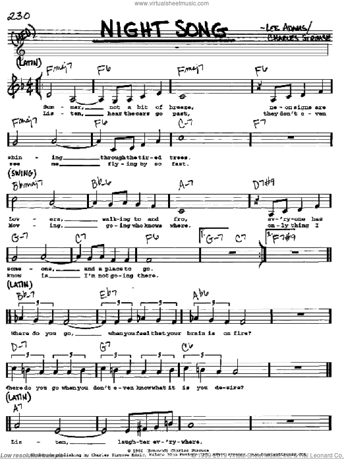 Night Song sheet music for voice and other instruments (Vocal Volume 1) by Charles Strouse and Lee Adams, intermediate. Score Image Preview.