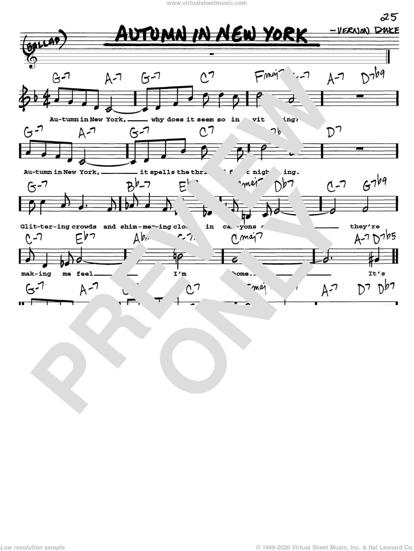 autumn in new york sheet music pdf