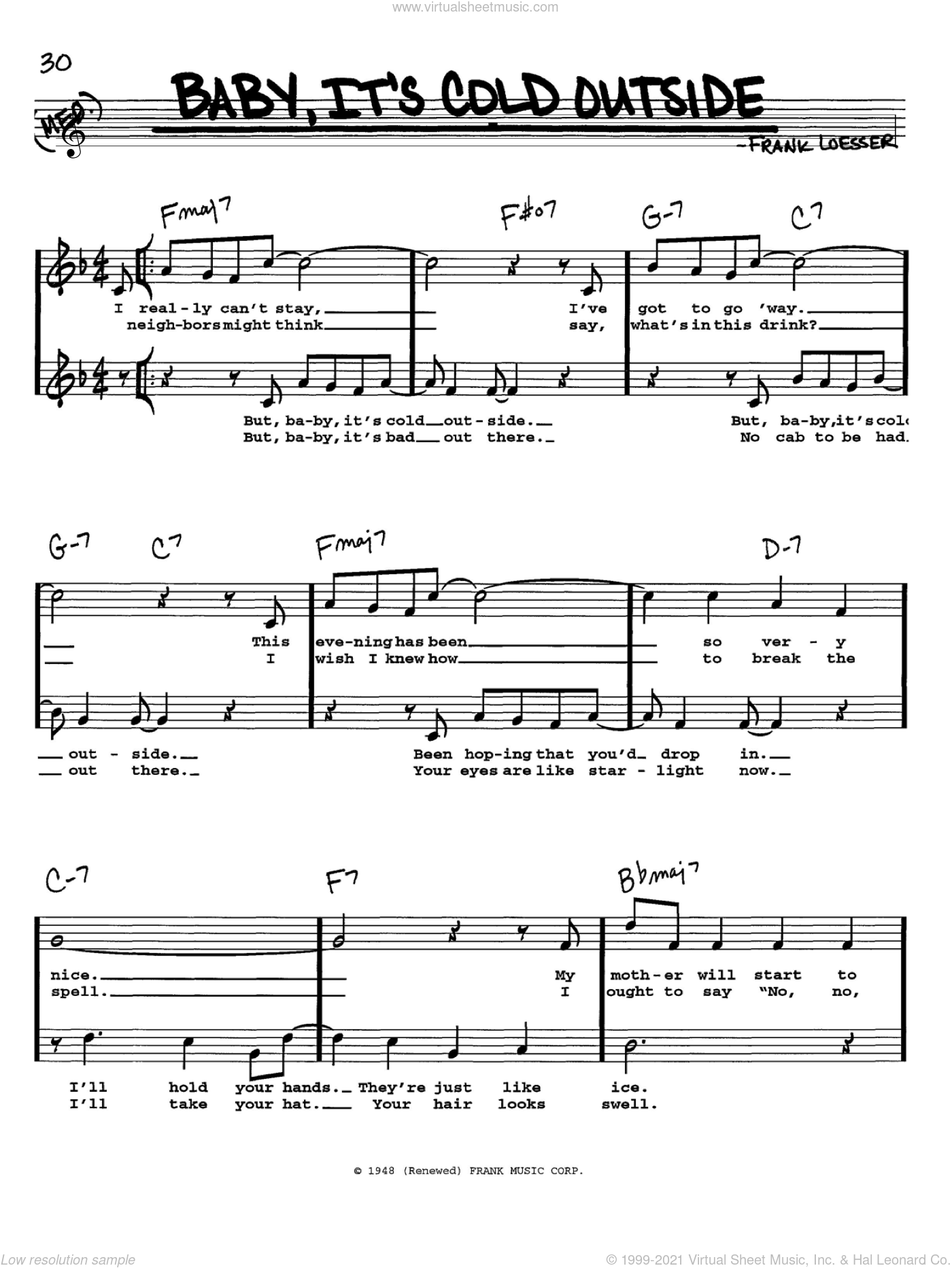 Baby, It's Cold Outside sheet music for voice and other instruments  by Frank Loesser, intermediate skill level