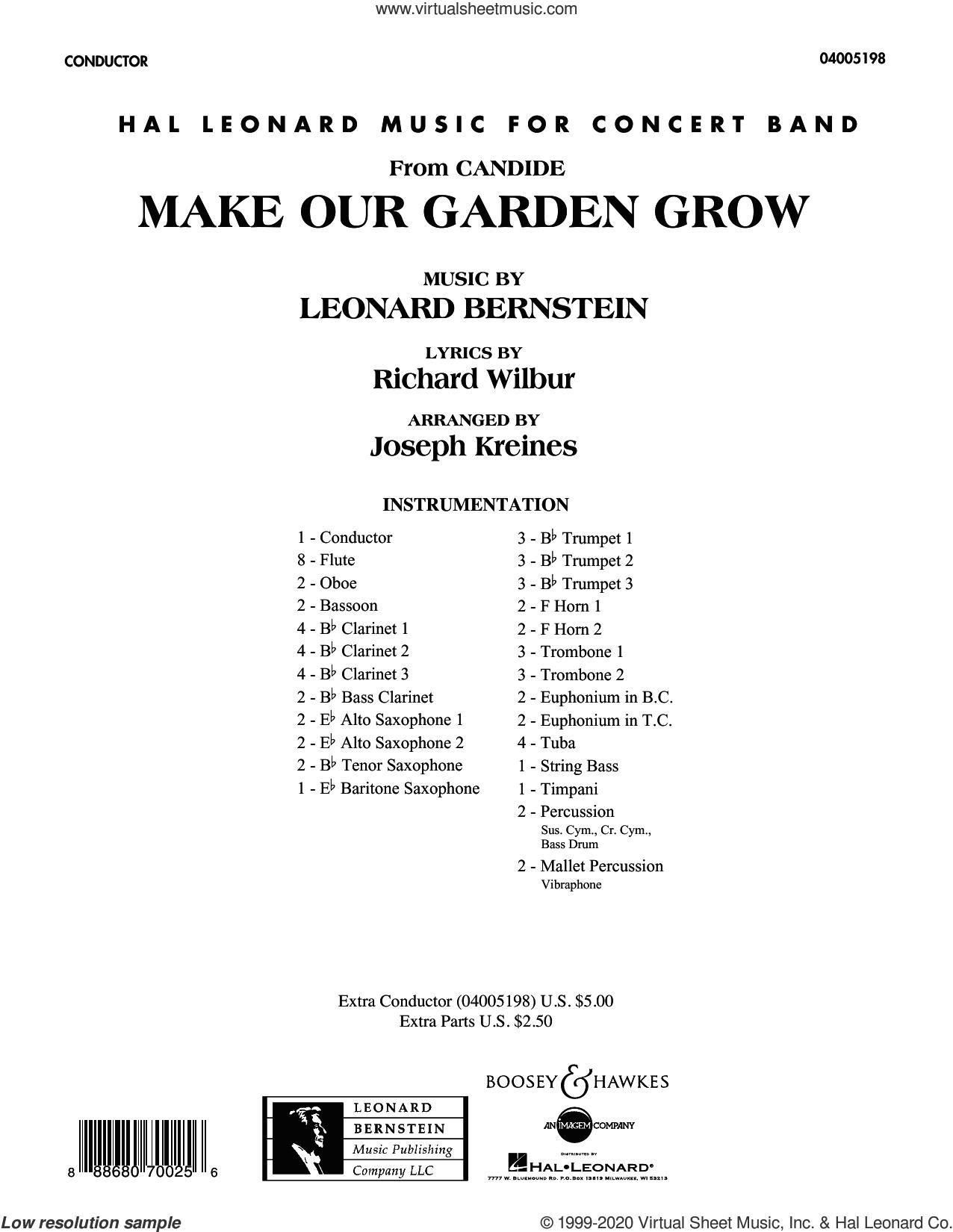 Make Our Garden Grow (from Candide) (COMPLETE) sheet music for concert band by Joseph Kreines, Leonard Bernstein and Richard Wilbur, intermediate skill level