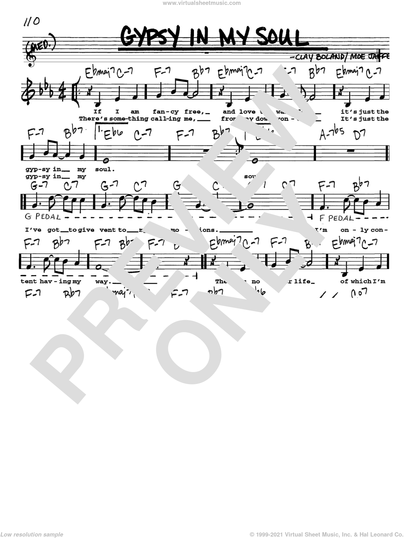 Gypsy In My Soul sheet music for voice and other instruments (Vocal Volume 1) by Clay Boland and Moe Jaffe. Score Image Preview.