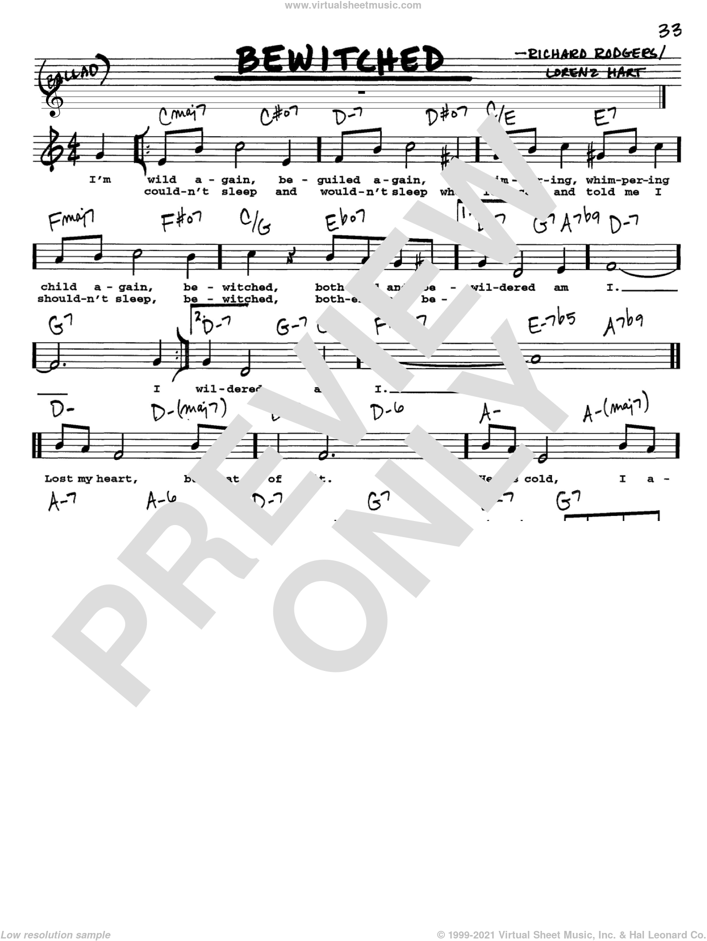 Bewitched sheet music for voice and other instruments (Vocal Volume 1) by Rodgers & Hart, Lorenz Hart and Richard Rodgers. Score Image Preview.