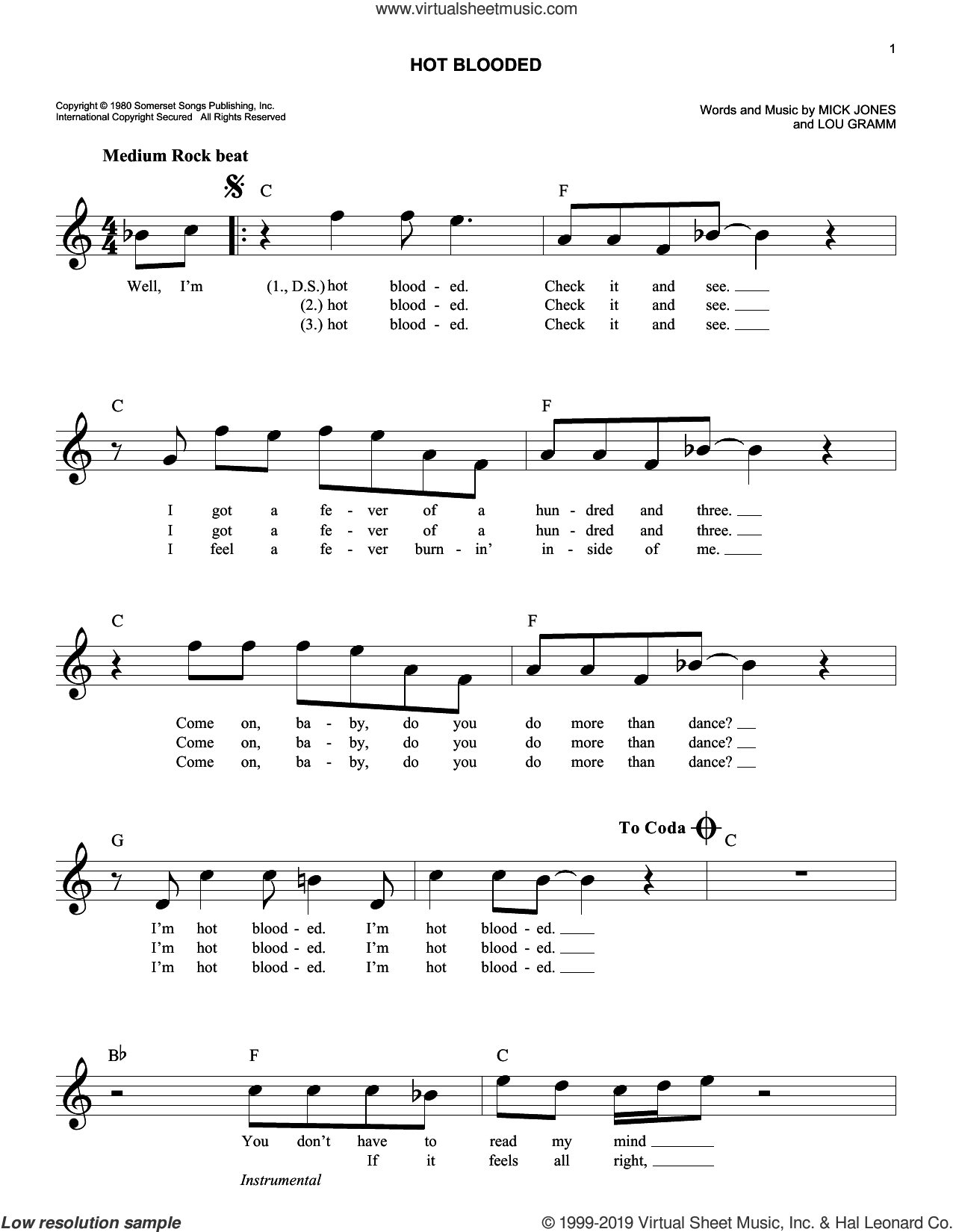 Hot Blooded sheet music for voice and other instruments (fake book) by Foreigner, Lou Gramm and Mick Jones, intermediate skill level