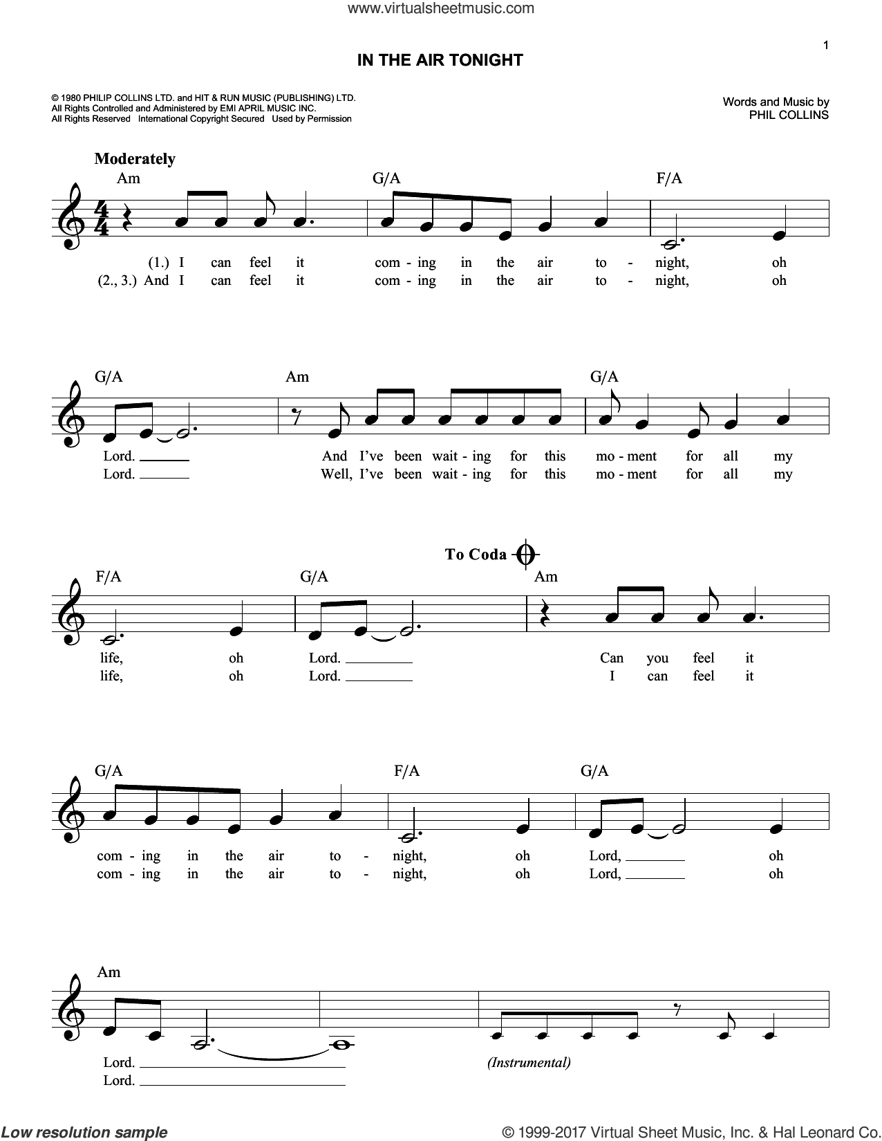 Collins - In The Air Tonight sheet music (fake book) [PDF]