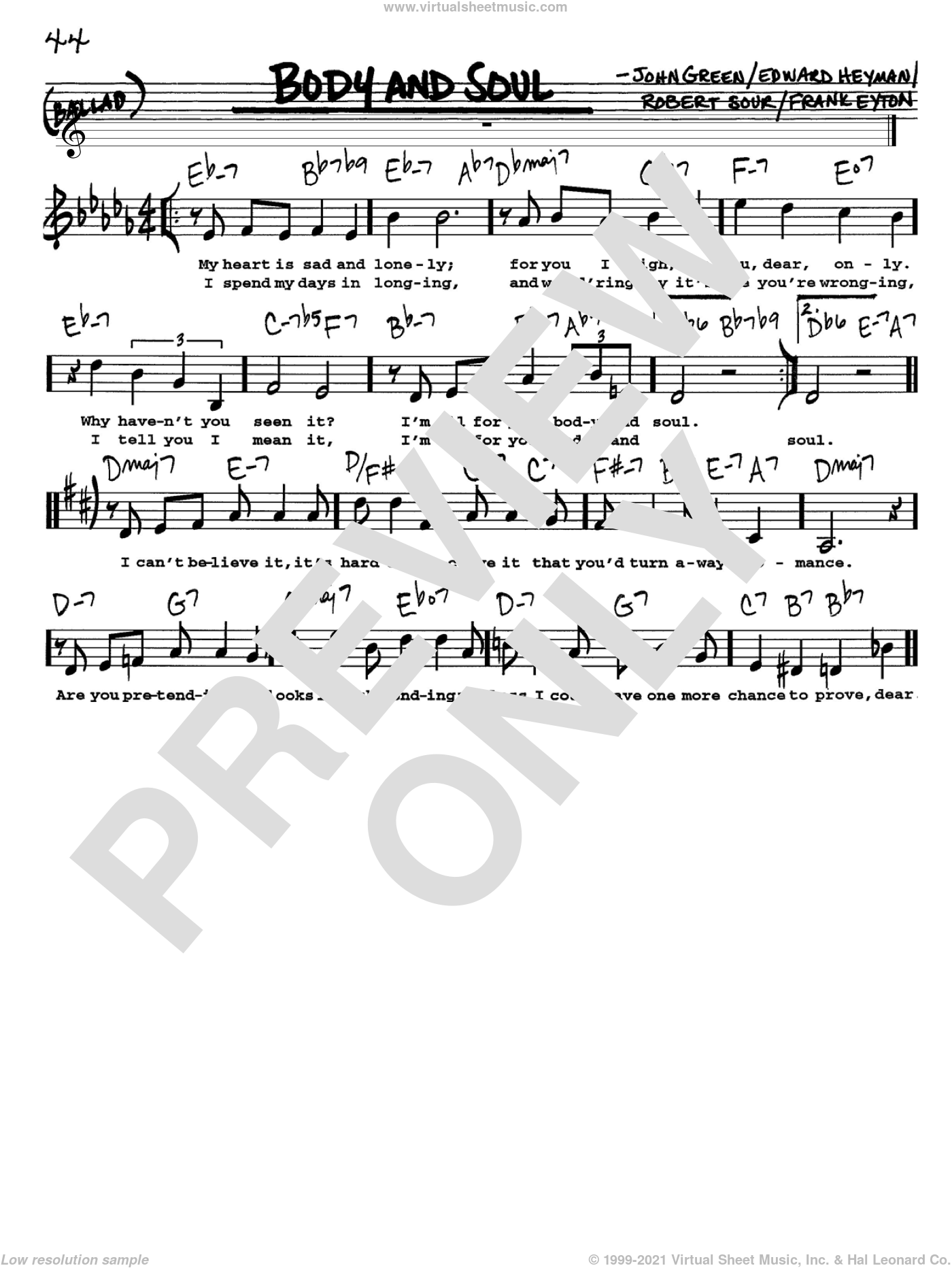 Body And Soul sheet music for voice and other instruments  by Edward Heyman, Frank Eyton, Johnny Green and Robert Sour, intermediate skill level