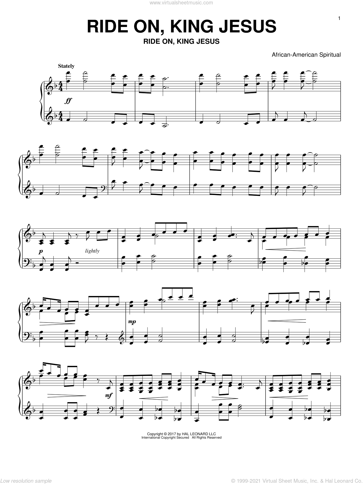 Ride On, King Jesus sheet music for piano solo by Kurt Kaiser and Miscellaneous, intermediate skill level