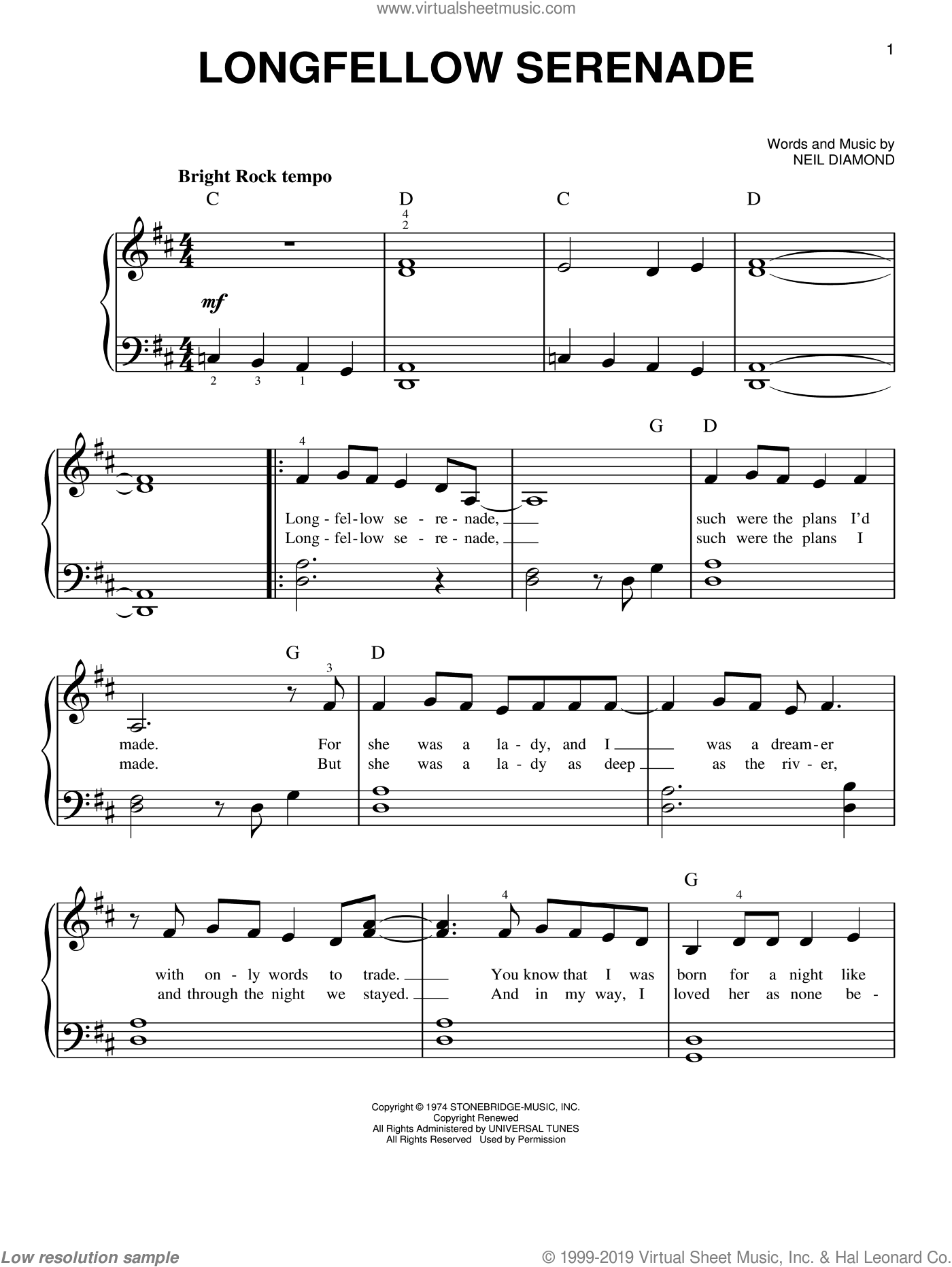 Longfellow Serenade sheet music for piano solo by Neil Diamond. Score Image Preview.