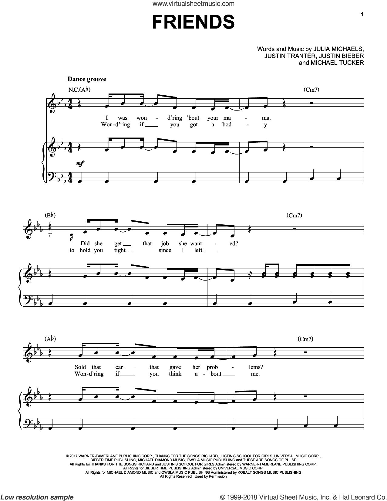 Friends sheet music for voice, piano or guitar by Justin Bieber feat. BloodPop, Julia Michaels, Justin Bieber, Justin Tranter and Michael Tucker, intermediate skill level
