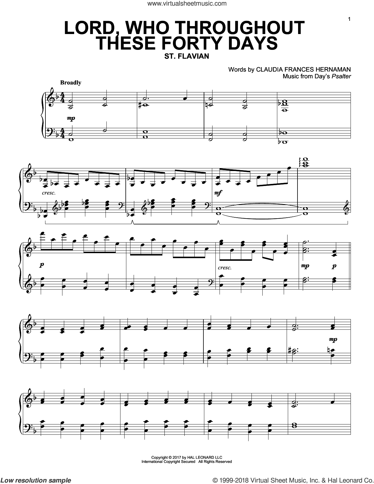 Lord, Who Throughout These Forty Days sheet music for piano solo by Claudia Frances Hernaman. Score Image Preview.