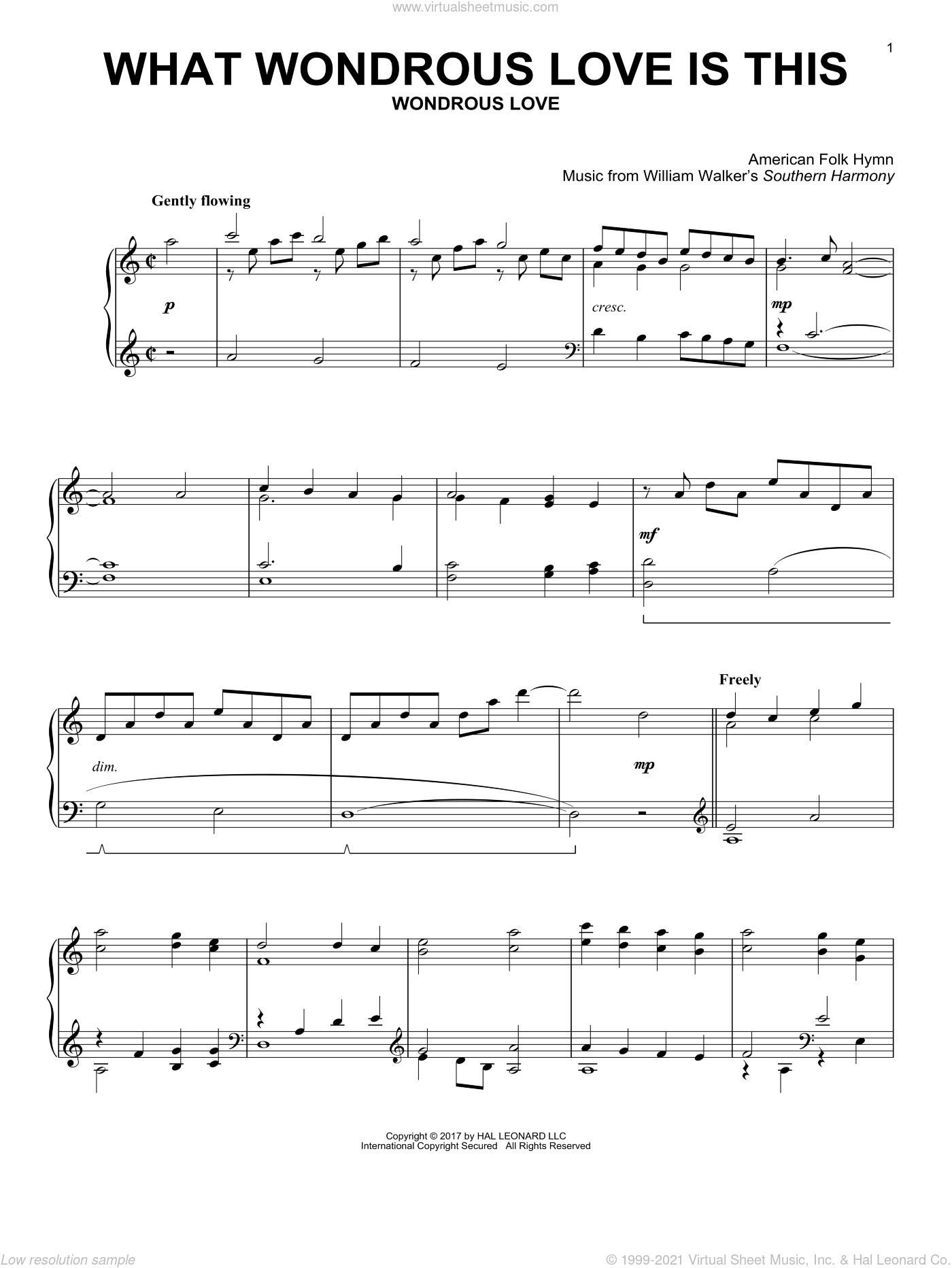 What Wondrous Love Is This sheet music for piano solo , Billy Walker and Southern Harmony, intermediate skill level