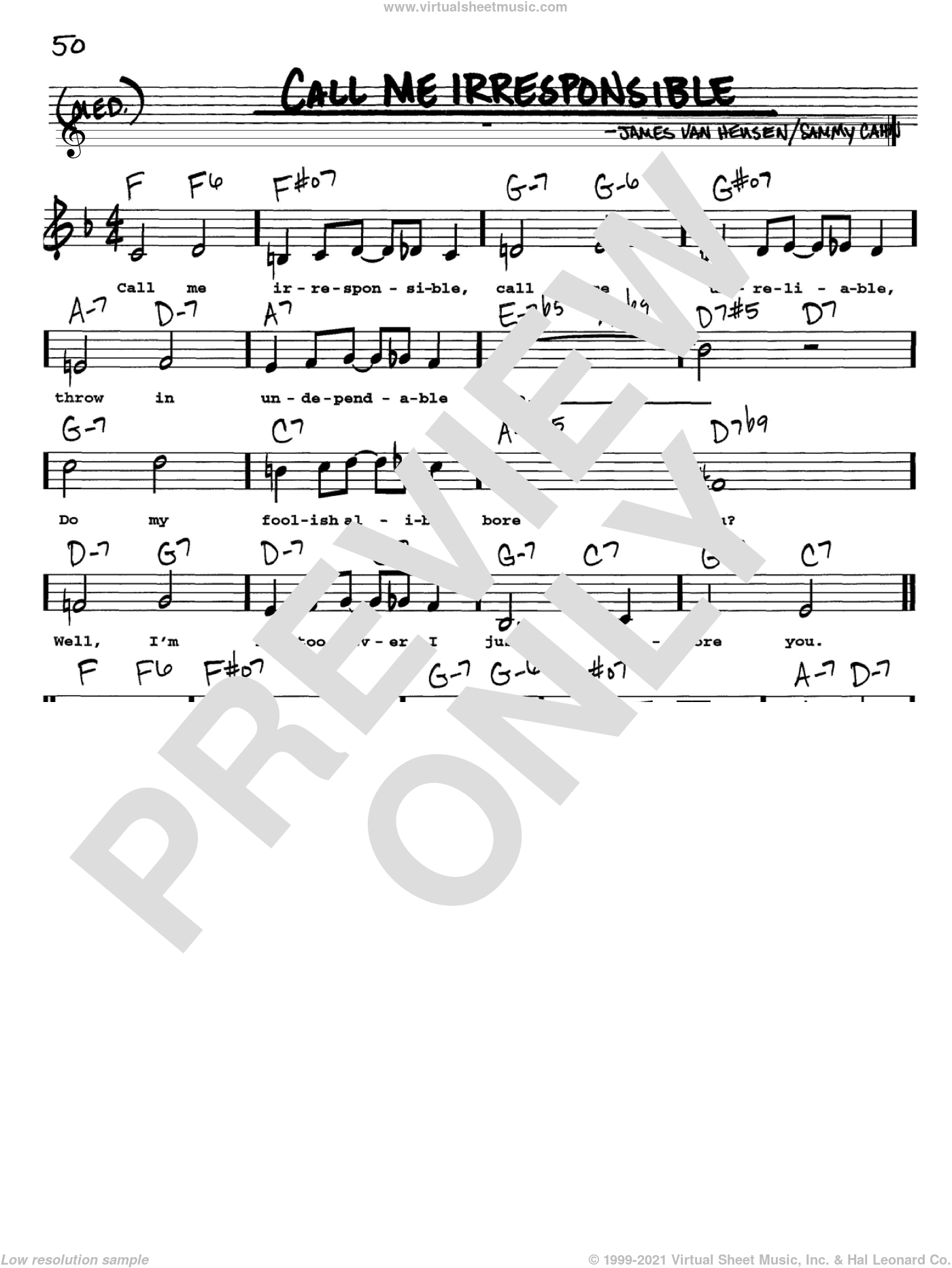 Call Me Irresponsible sheet music for voice and other instruments (Vocal Volume 1) by Frank Sinatra, Dinah Washington, Jack Jones, Jimmy van Heusen and Sammy Cahn. Score Image Preview.