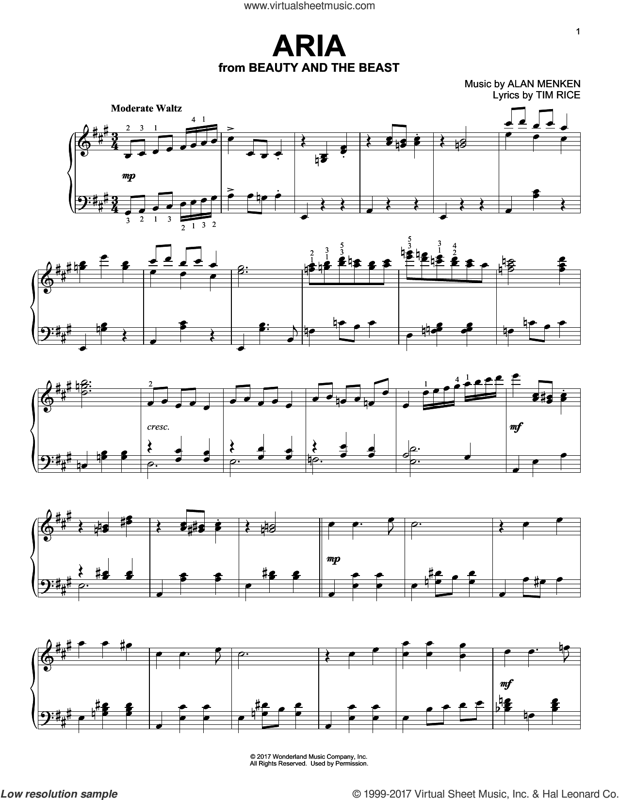 Aria sheet music for piano solo by Audra McDonald, Howard Ashman, Alan Menken and Tim Rice, intermediate skill level
