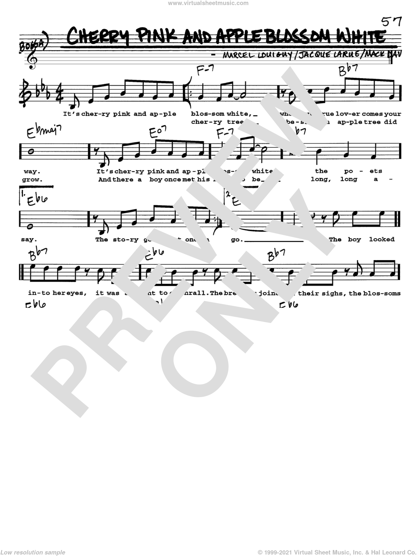 Cherry Pink And Apple Blossom White sheet music for voice and other instruments (Vocal Volume 1) by Mack David and Marcel Louiguy. Score Image Preview.