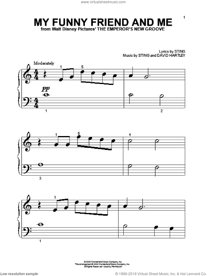 My Funny Friend And Me sheet music for piano solo (big note book) by Sting and David Hartley, easy piano (big note book)
